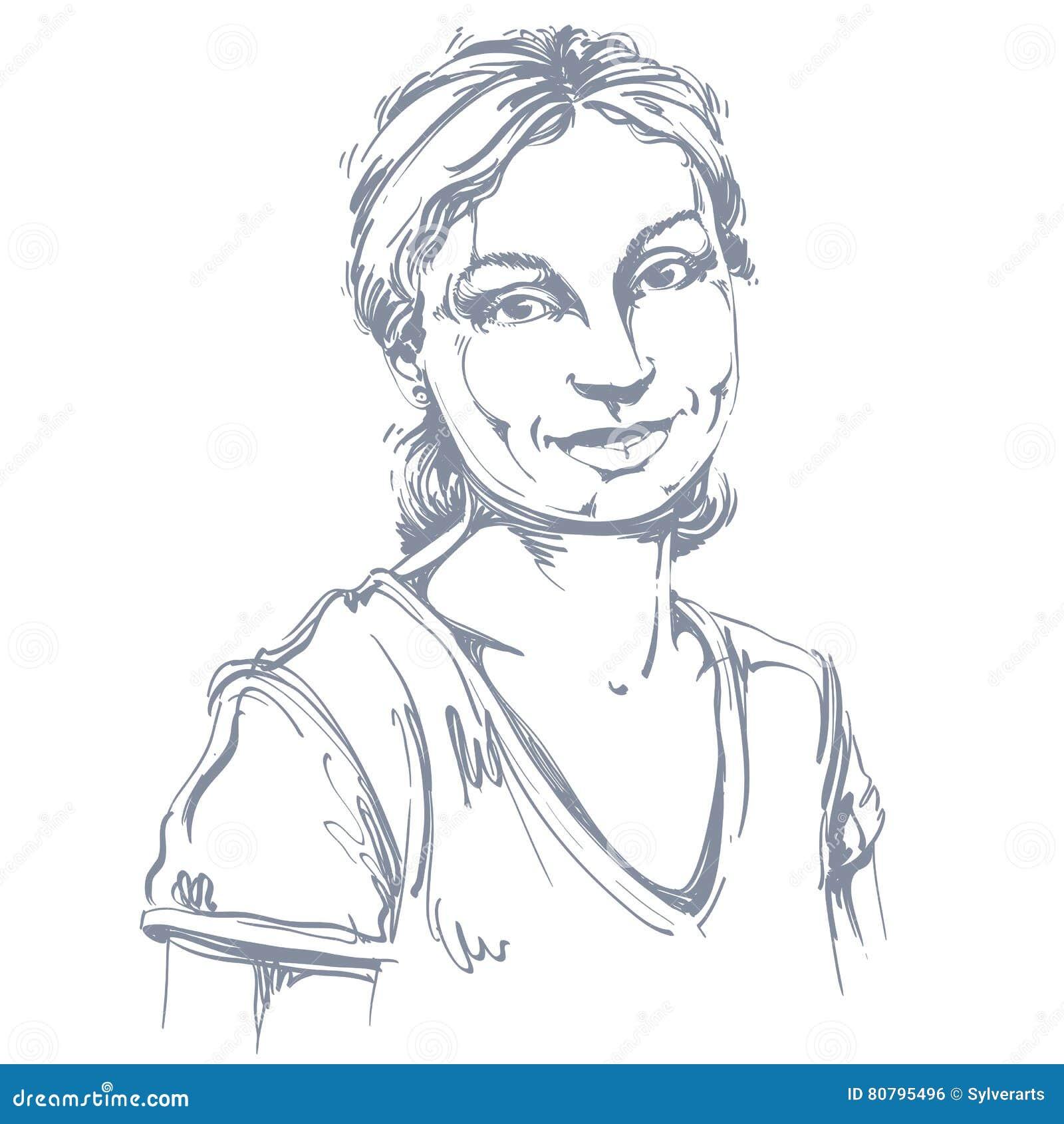 Dirigez Le Dessin D Art Portrait D Isolant De Sourire
