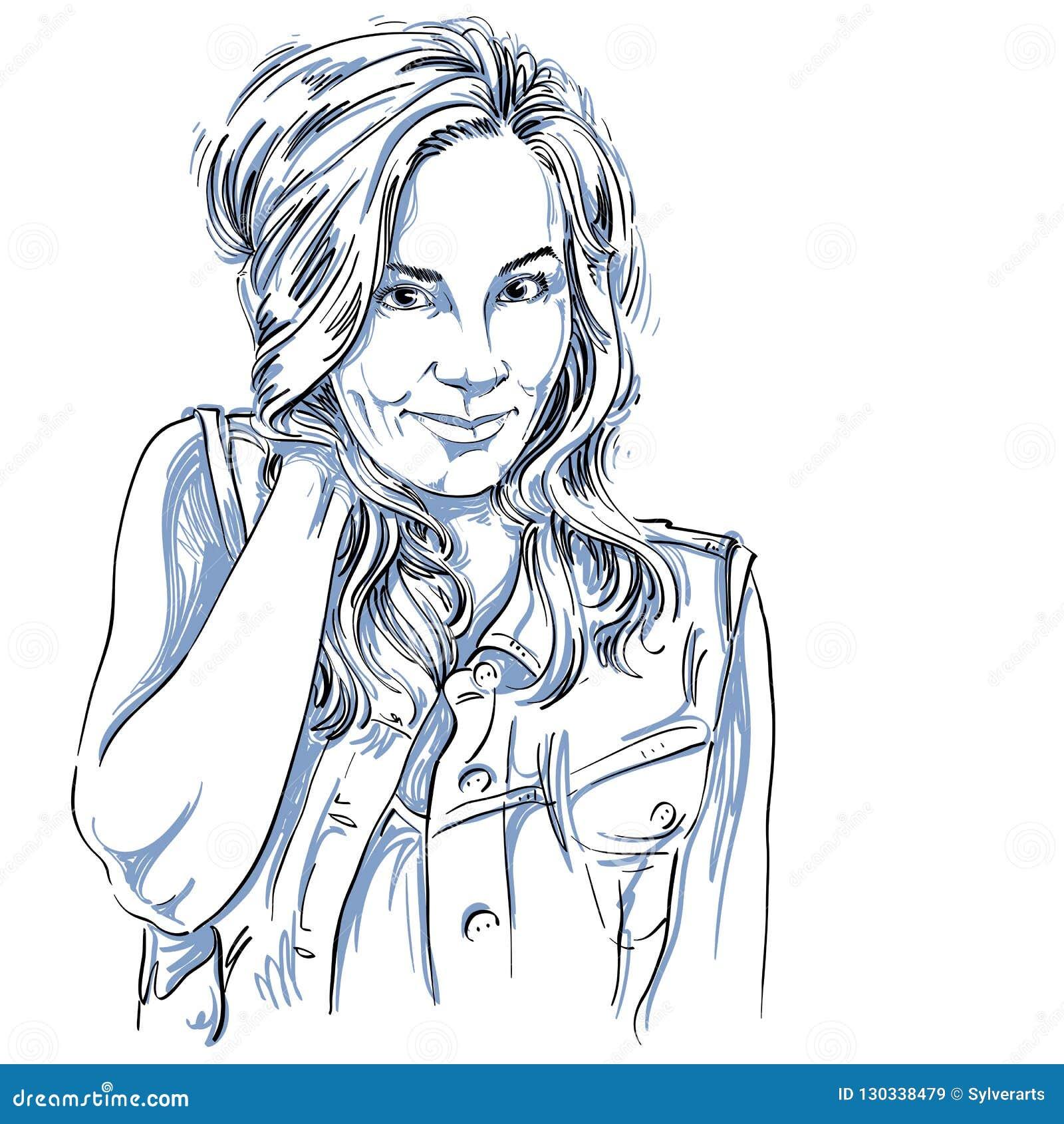 Dirigez Le Dessin D Art Portrait De La Fille De Flirt