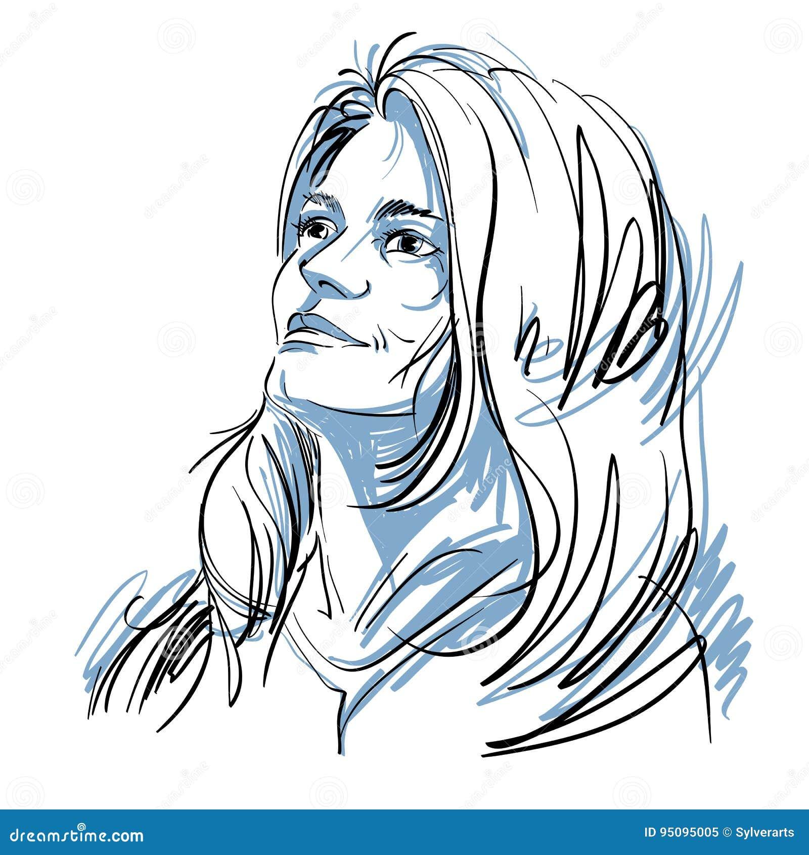 Dirigez Le Dessin D Art Portrait De La Fille Romantique