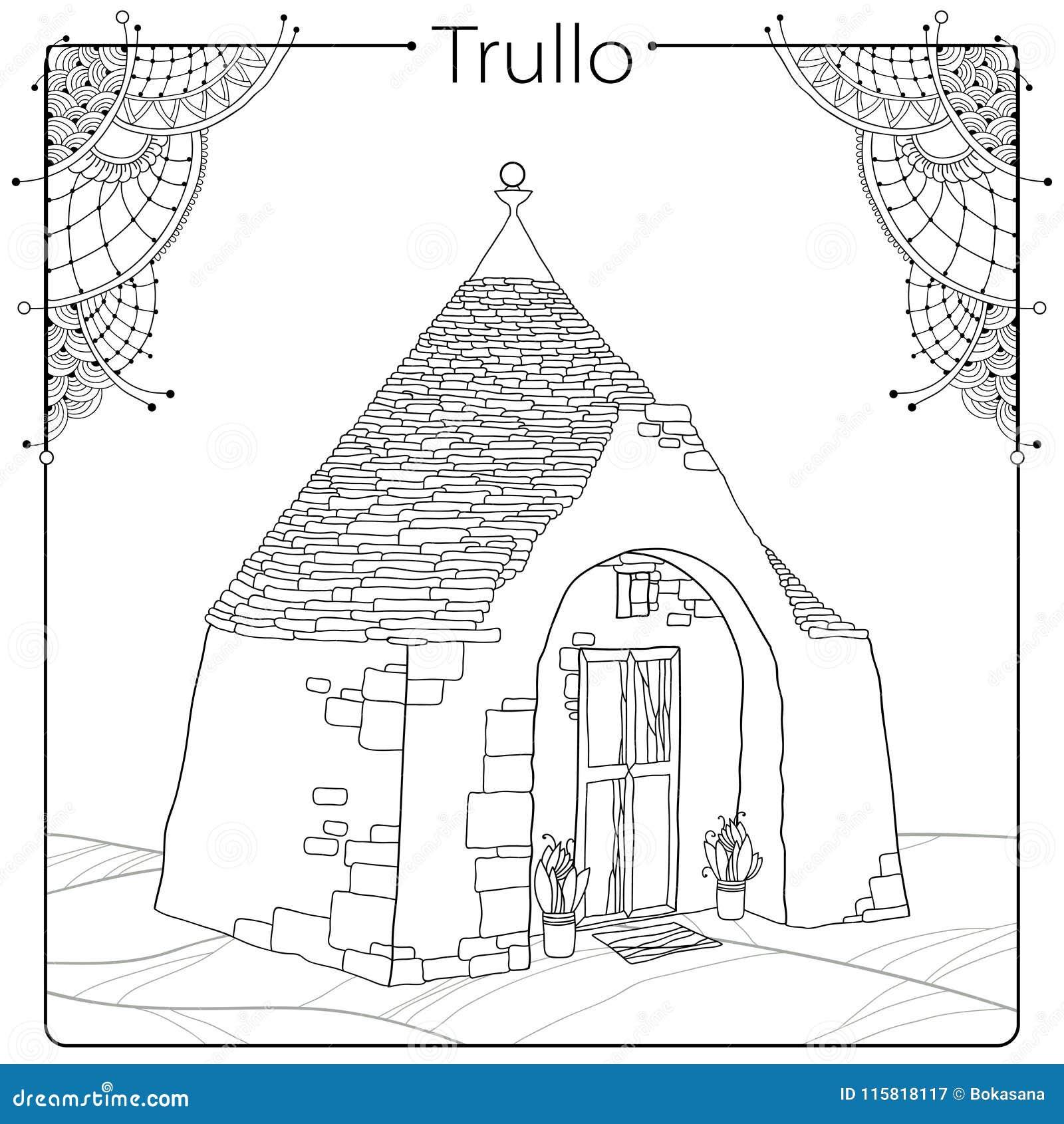 toit de maison dessin Dirigez le dessin d ensemble de la maison de Trulli ou de Trullo avec le  toit