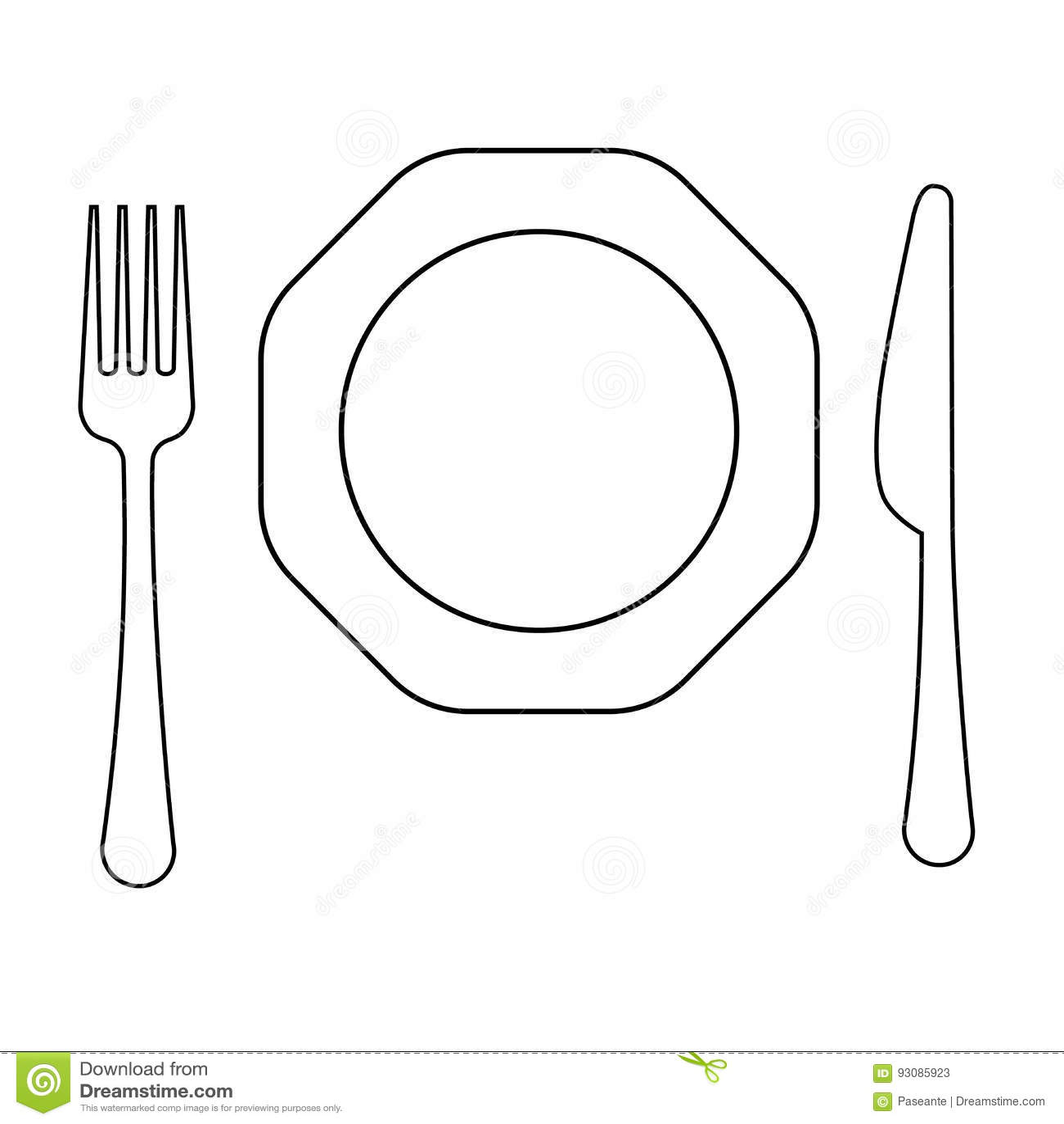 Dirigez le dessin de la ligne mince fourchette du plat octogonal et du couteau ligne plate - Assiette dessin ...
