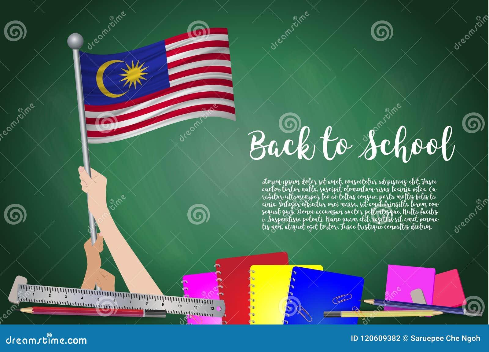 Dirigez le drapeau de la Malaisie sur le fond noir de tableau Educatio