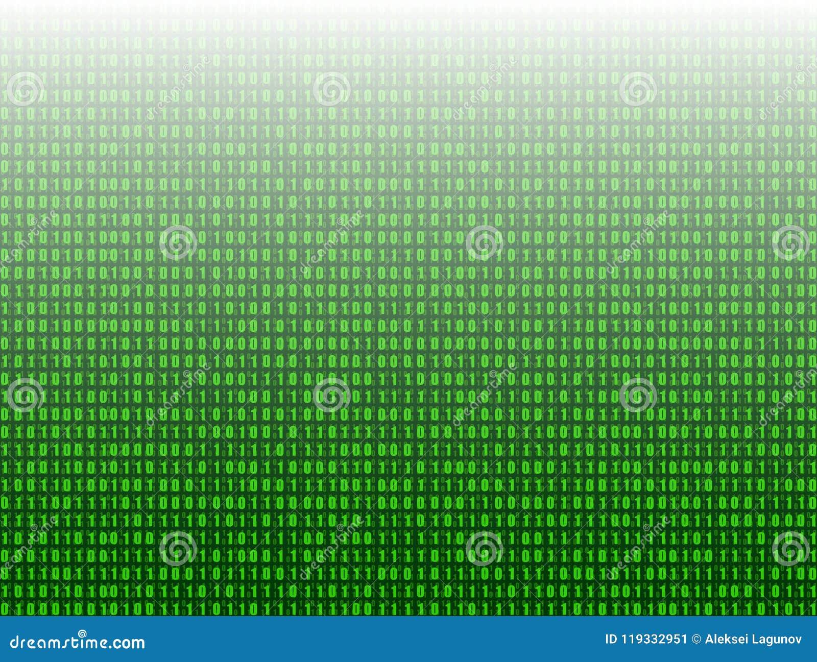 Dirigez le fond abstrait de technologie, 3D l effet, données de code binaire de vert
