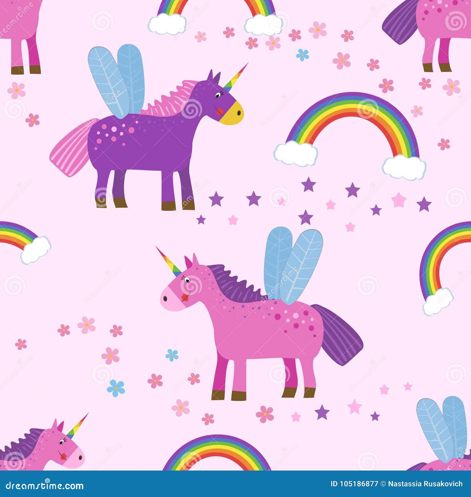 Dirigez le fond sans couture avec les licornes, les nuages et les arcs-en-ciel colorés le chiffre de l enfant