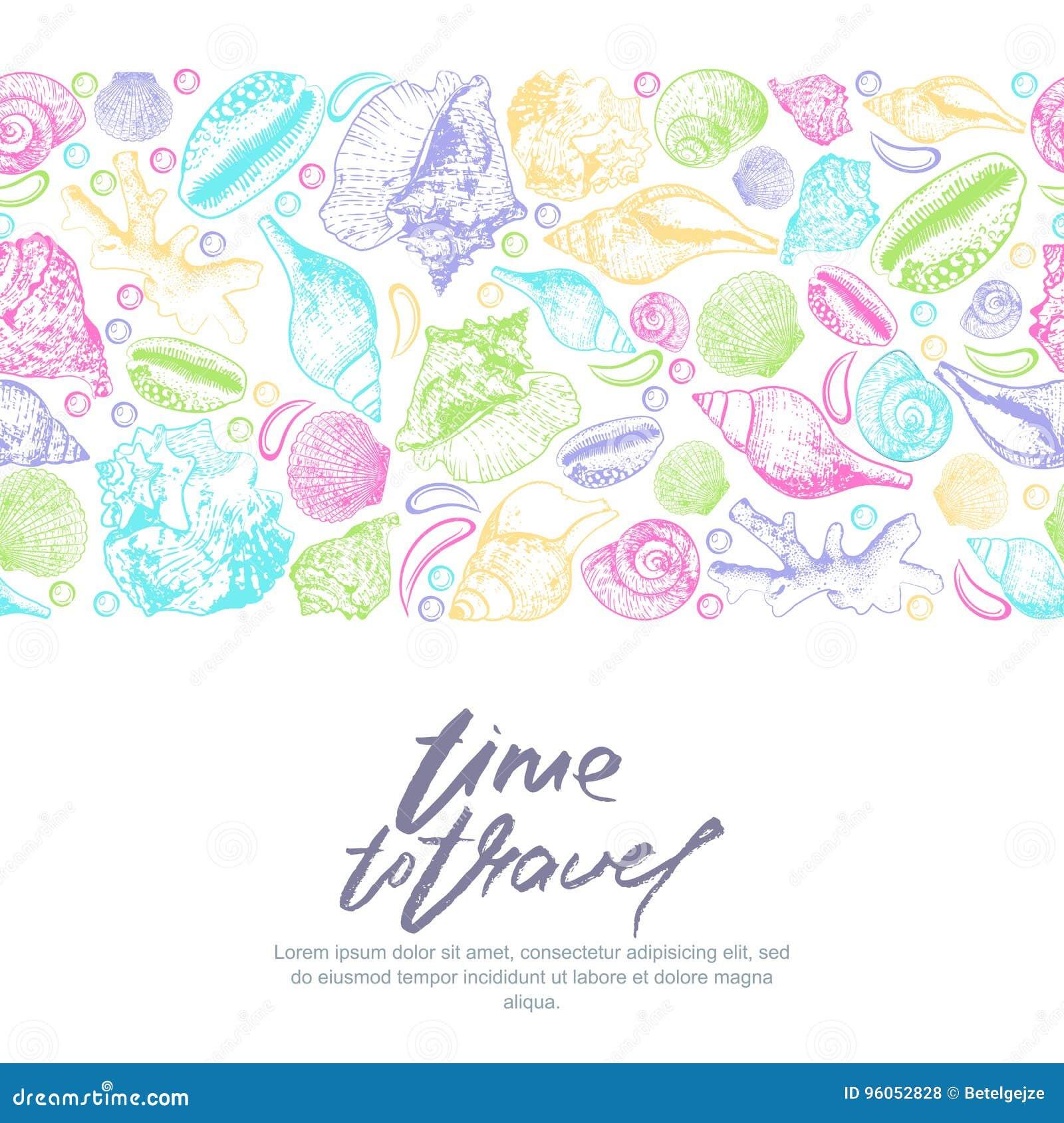 Dirigez le fond sans couture horizontal avec les coquillages et le lettrage multicolores de calligraphie Illustration tirée par l