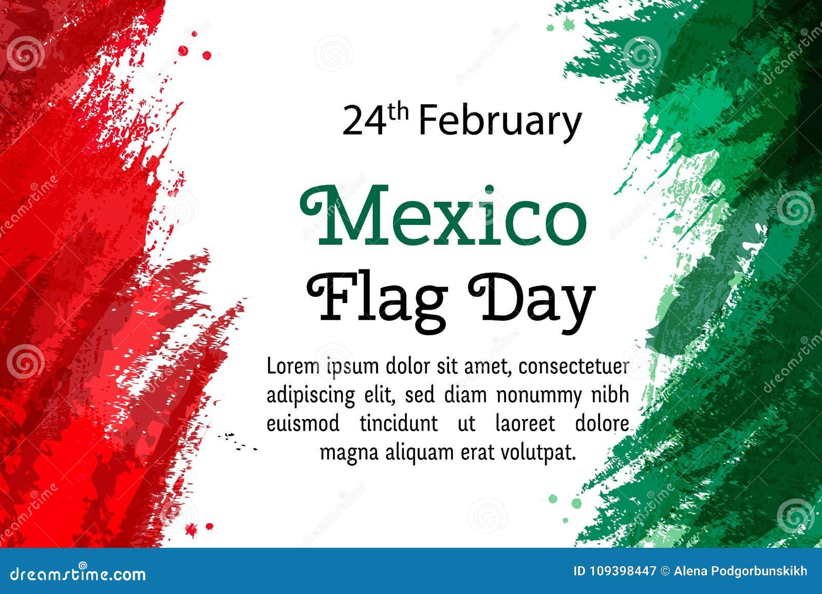 Dirigez le jour national du Mexique d illustration, drapeau mexicain dans le style à la mode 24 février jour de drapeau Mexique D