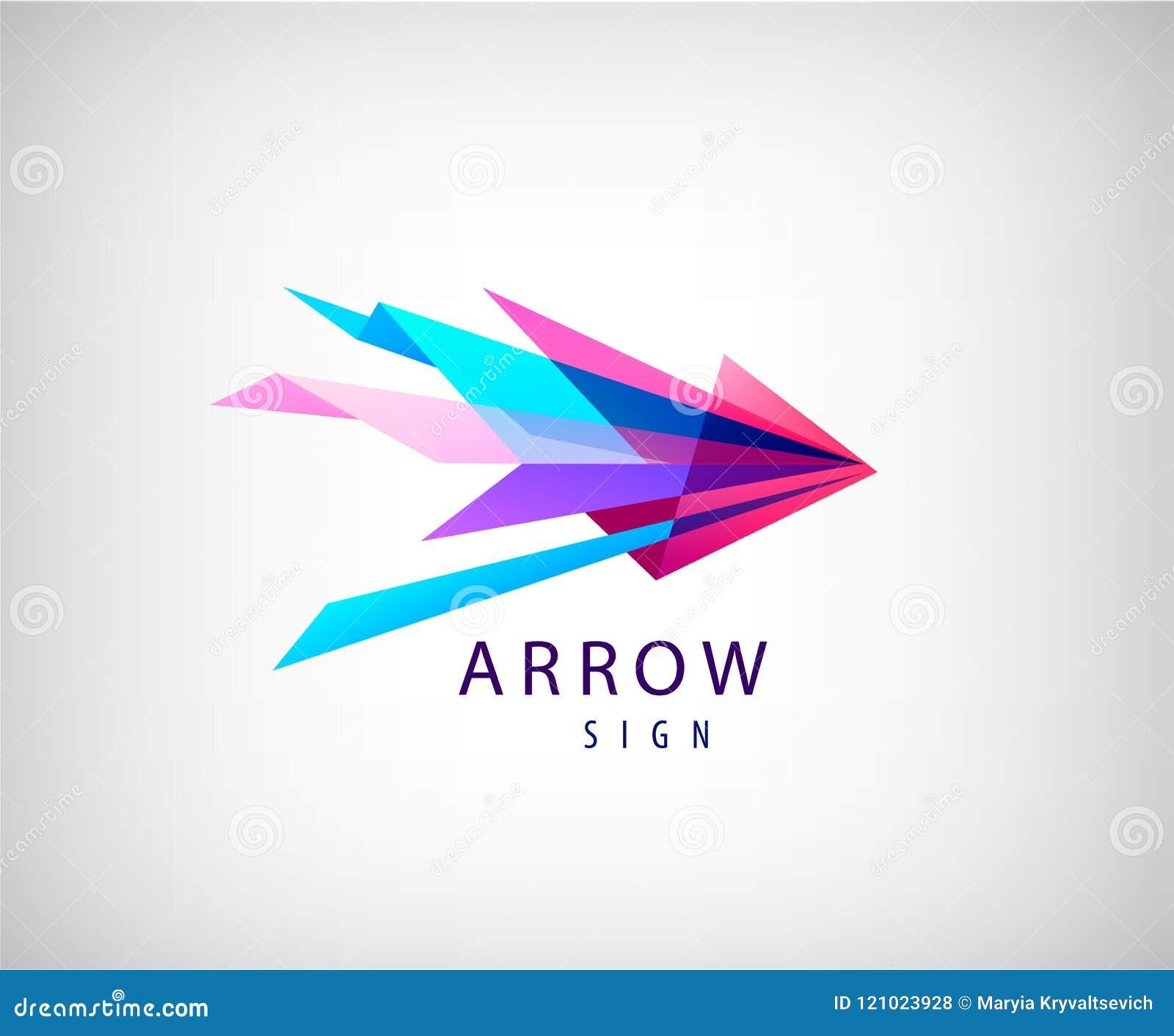 Dirigez le logo abstrait de flèche, icône facettée par origami, Web