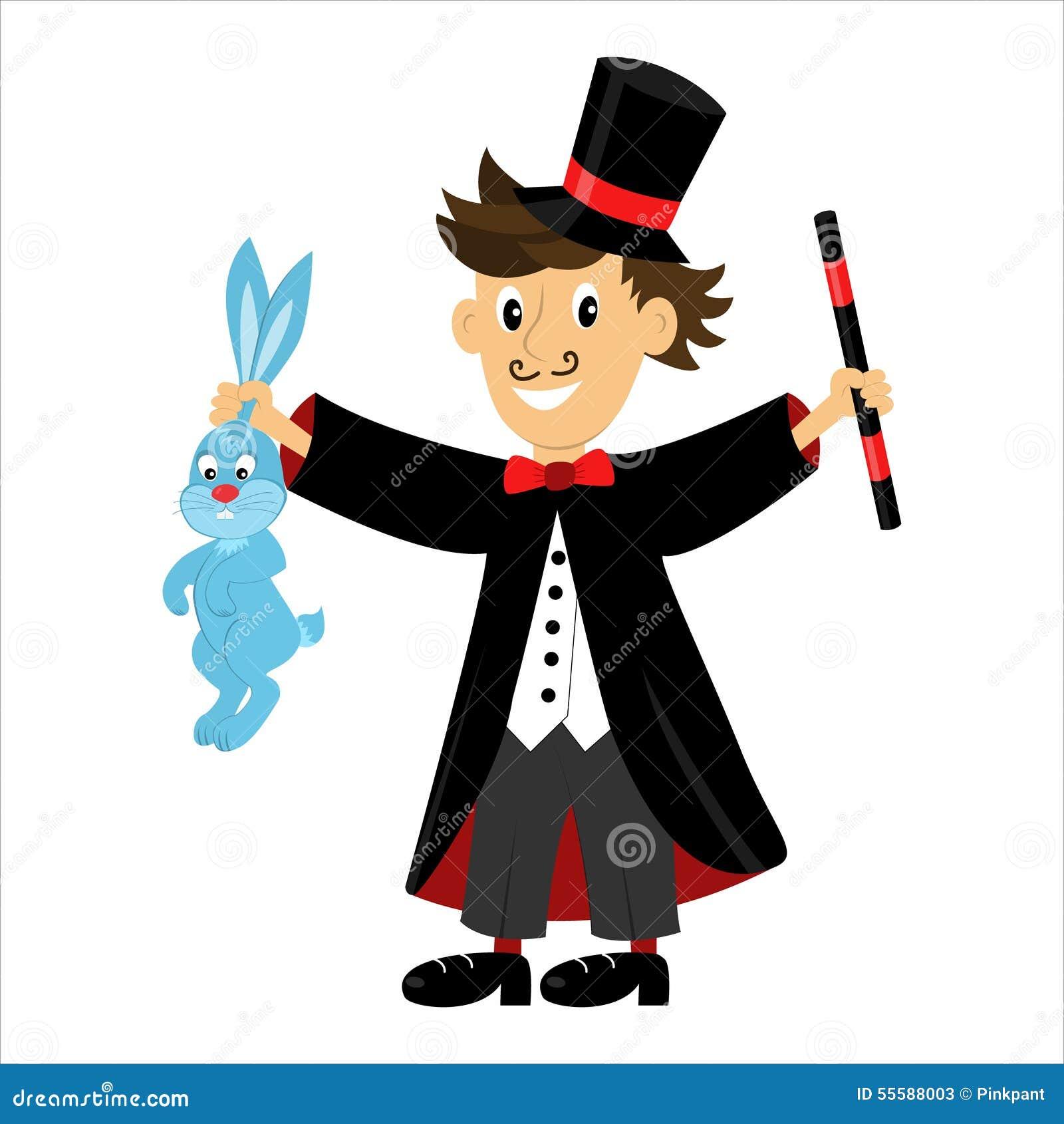 dirigez le magicien de personnage de dessin anim tenant une baguette magique magique et un lapin