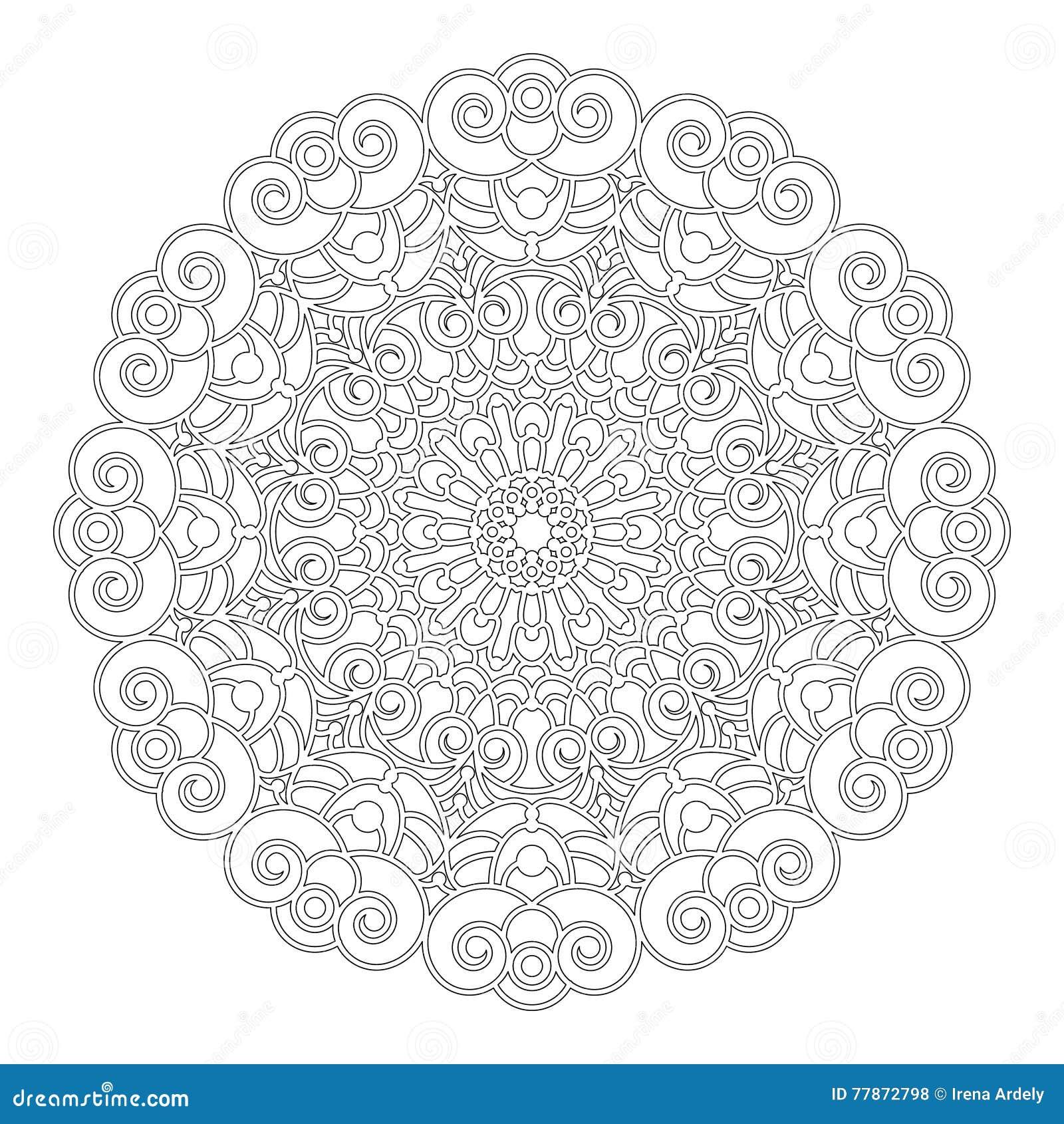 Coloriage Adulte Spirale.Dirigez Le Mandala Floral Geometrique Noir Et Blanc Avec Des
