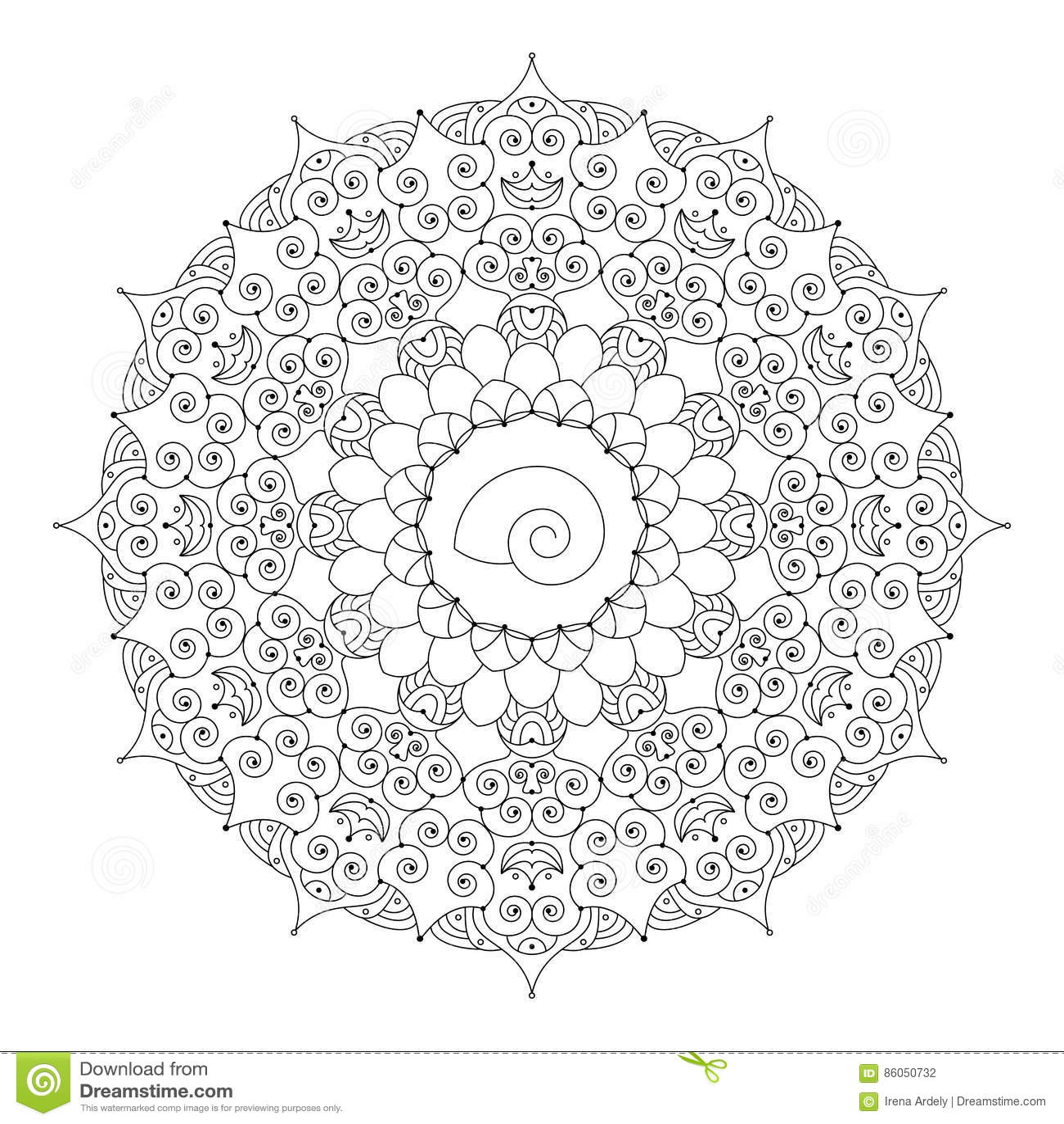 Coloriage Adulte Spirale.Dirigez Le Mandala Floral Rond Blanc Noir Avec Les Spirales Et La