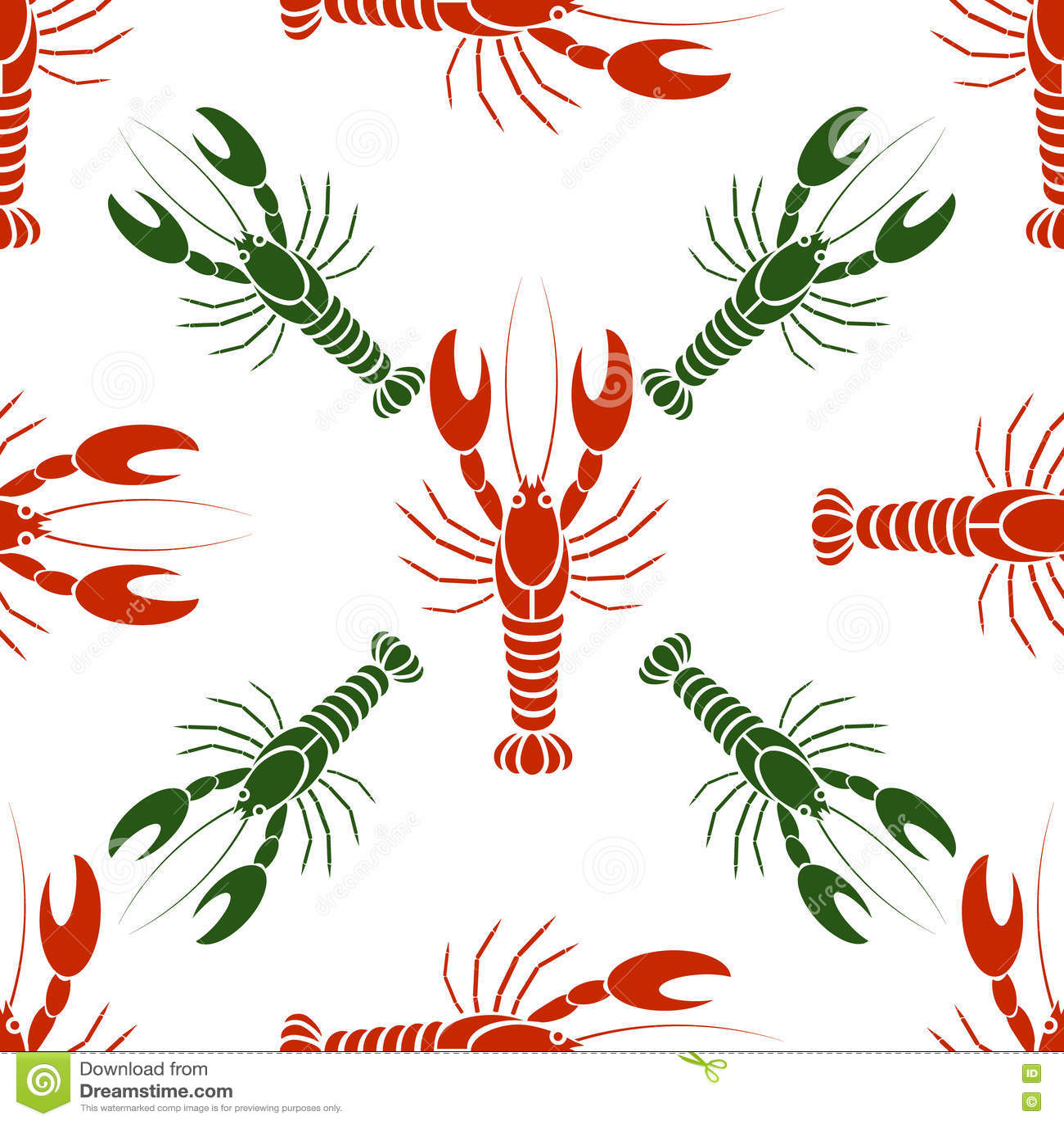 Dirigez le modèle sans couture avec des écrevisses ou des homards dans des couleurs rouges et vertes