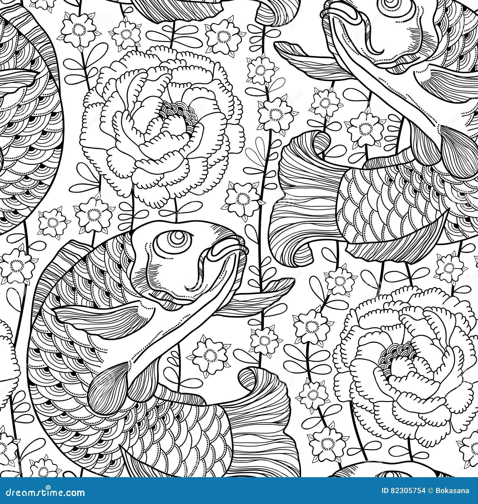 Dirigez le modèle sans couture avec la carpe et le chrysanthème de koi de noir d ensemble ou le dahlia sur le fond blanc Poissons