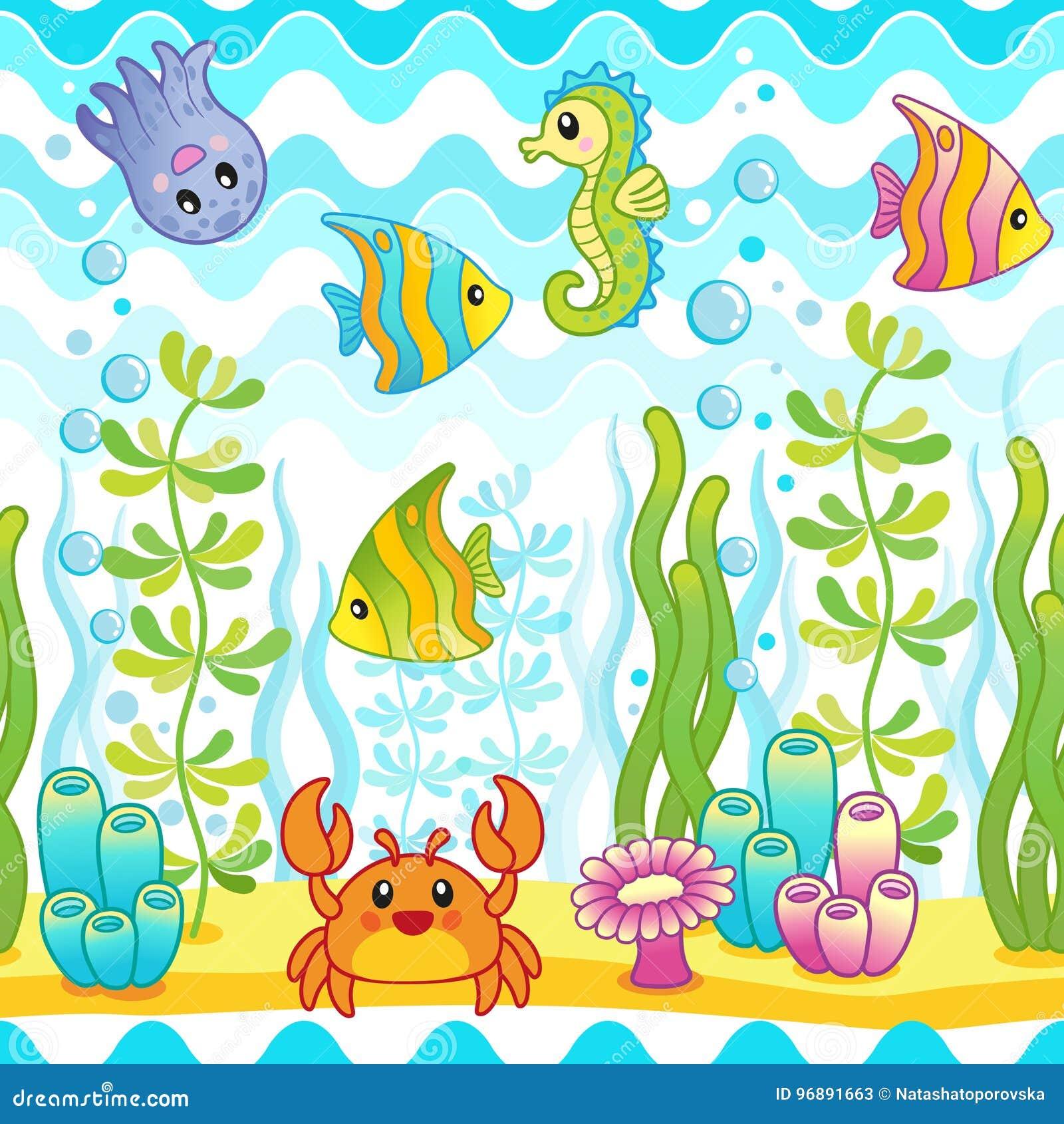 Dirigez le modèle sans couture avec la conception sous-marine et les créatures drôles de mer