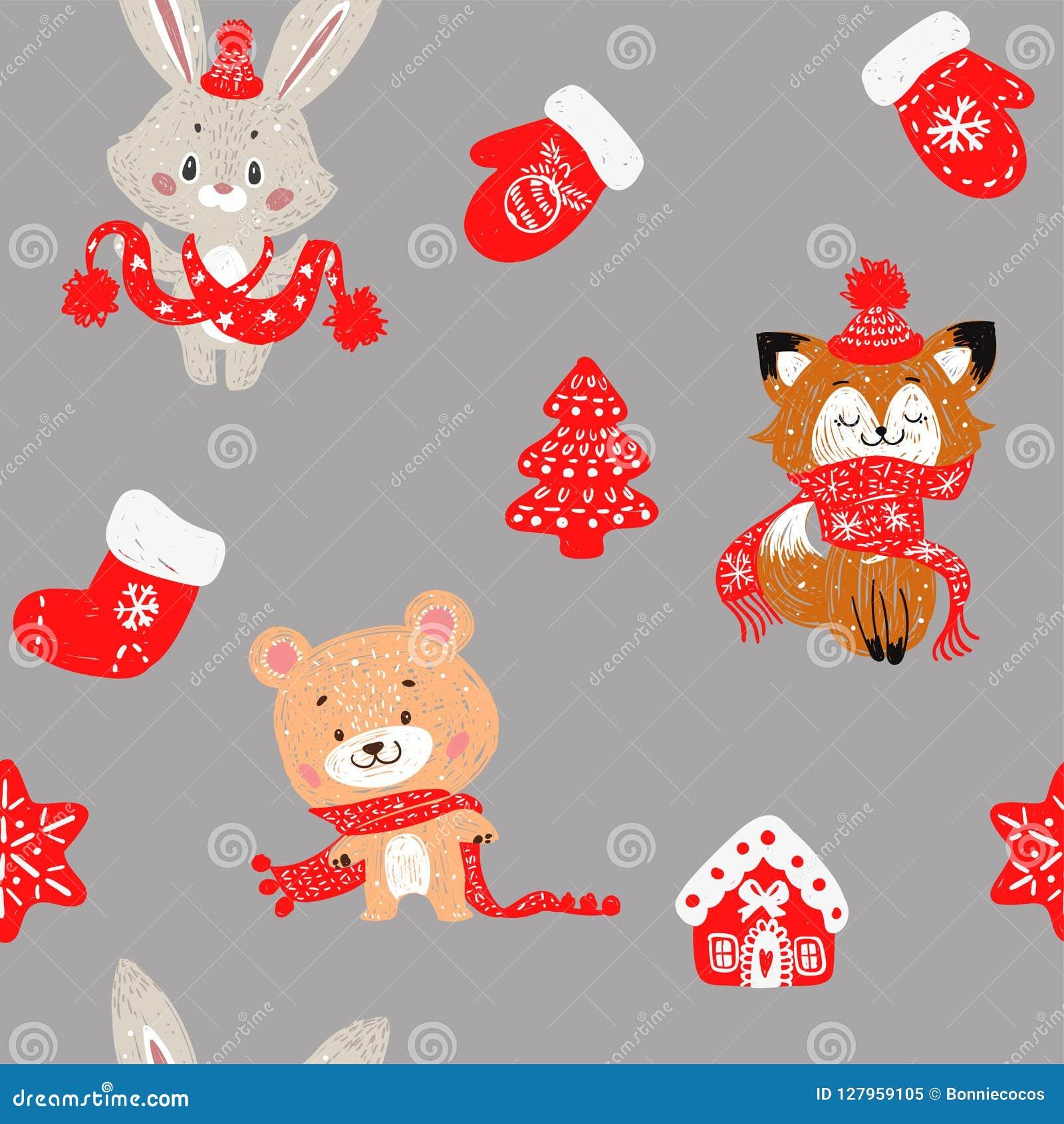 Dirigez le modèle sans couture avec la forêt tirée par la main d arbres de Noël de griffonnage, chaussettes Lapin, renard et ours