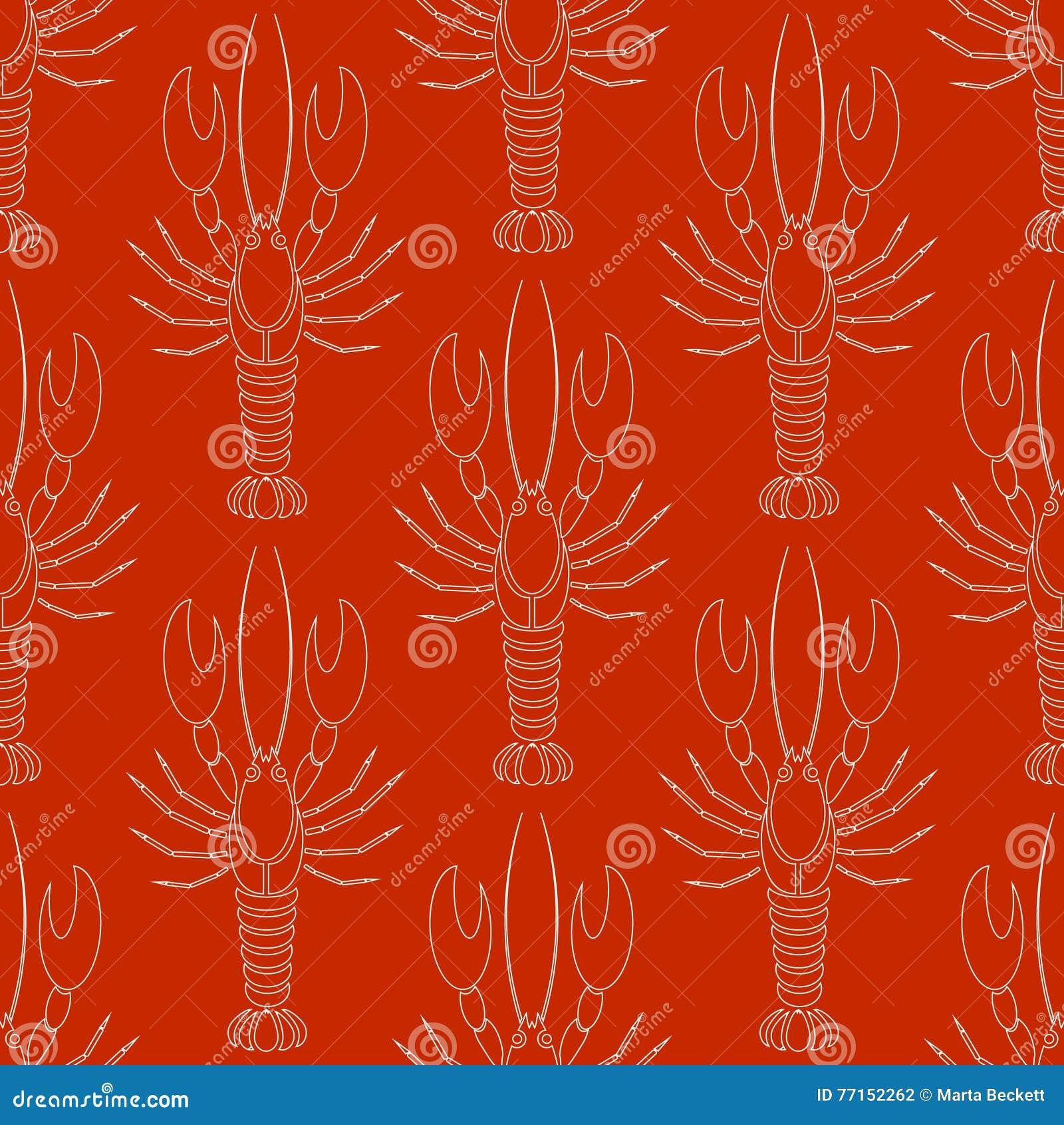 Dirigez le modèle sans couture avec la silhouette d écrevisses ou de homards dans la couleur blanche sur le fond rouge