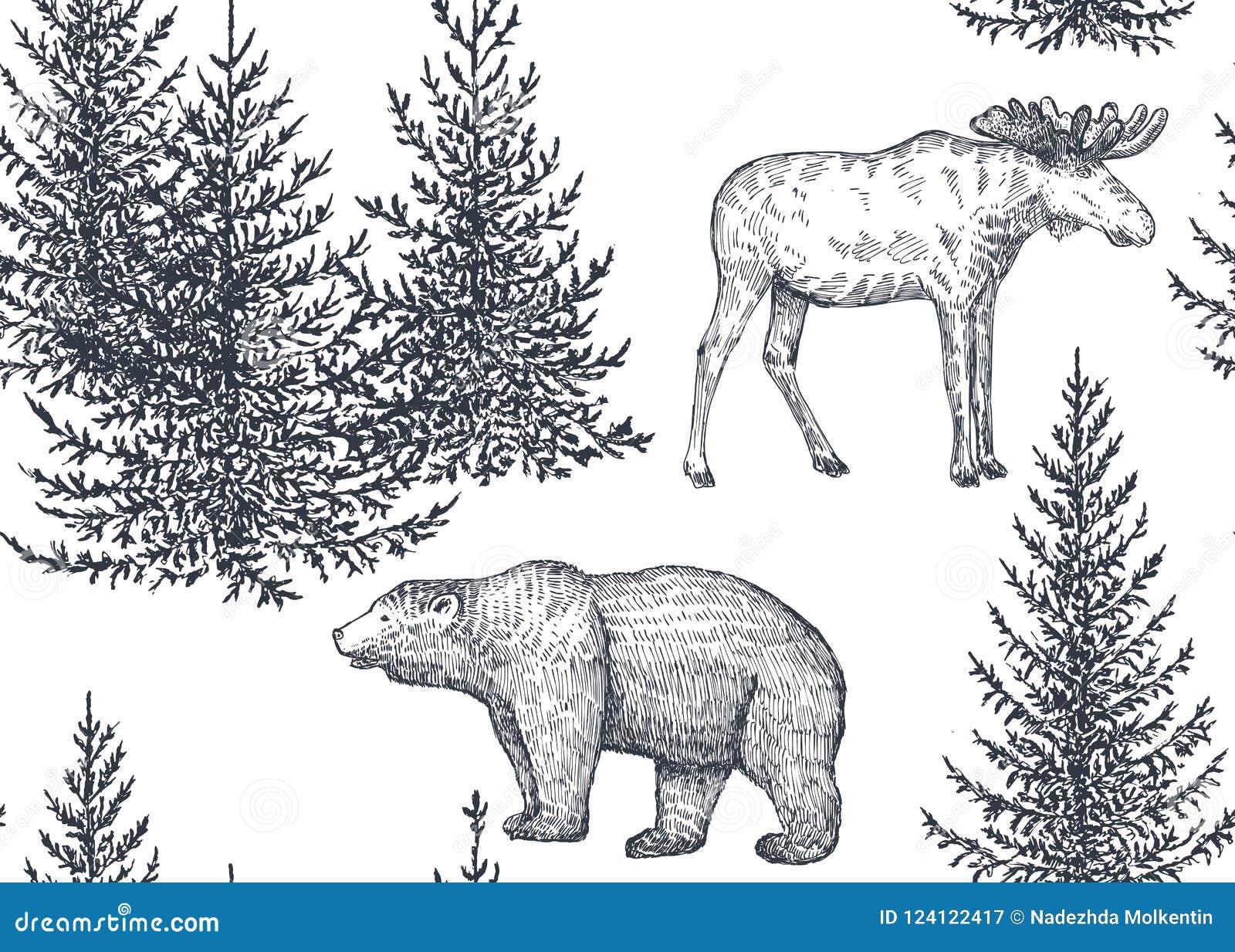 Dirigez le modèle sans couture avec les animaux et les arbres tirés par la main