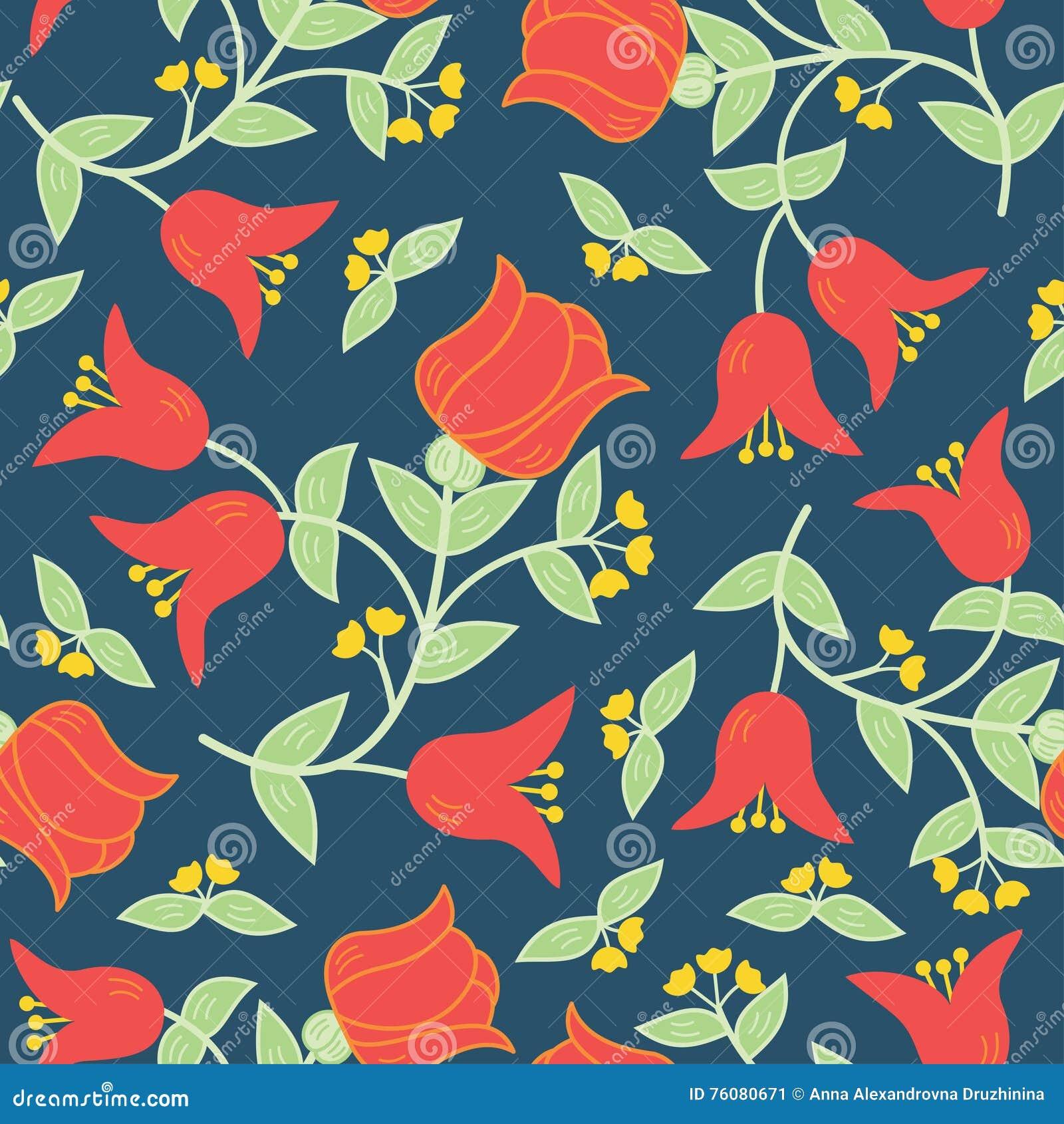 Dirigez le modèle sans couture de fleurs dans le style russe traditionnel
