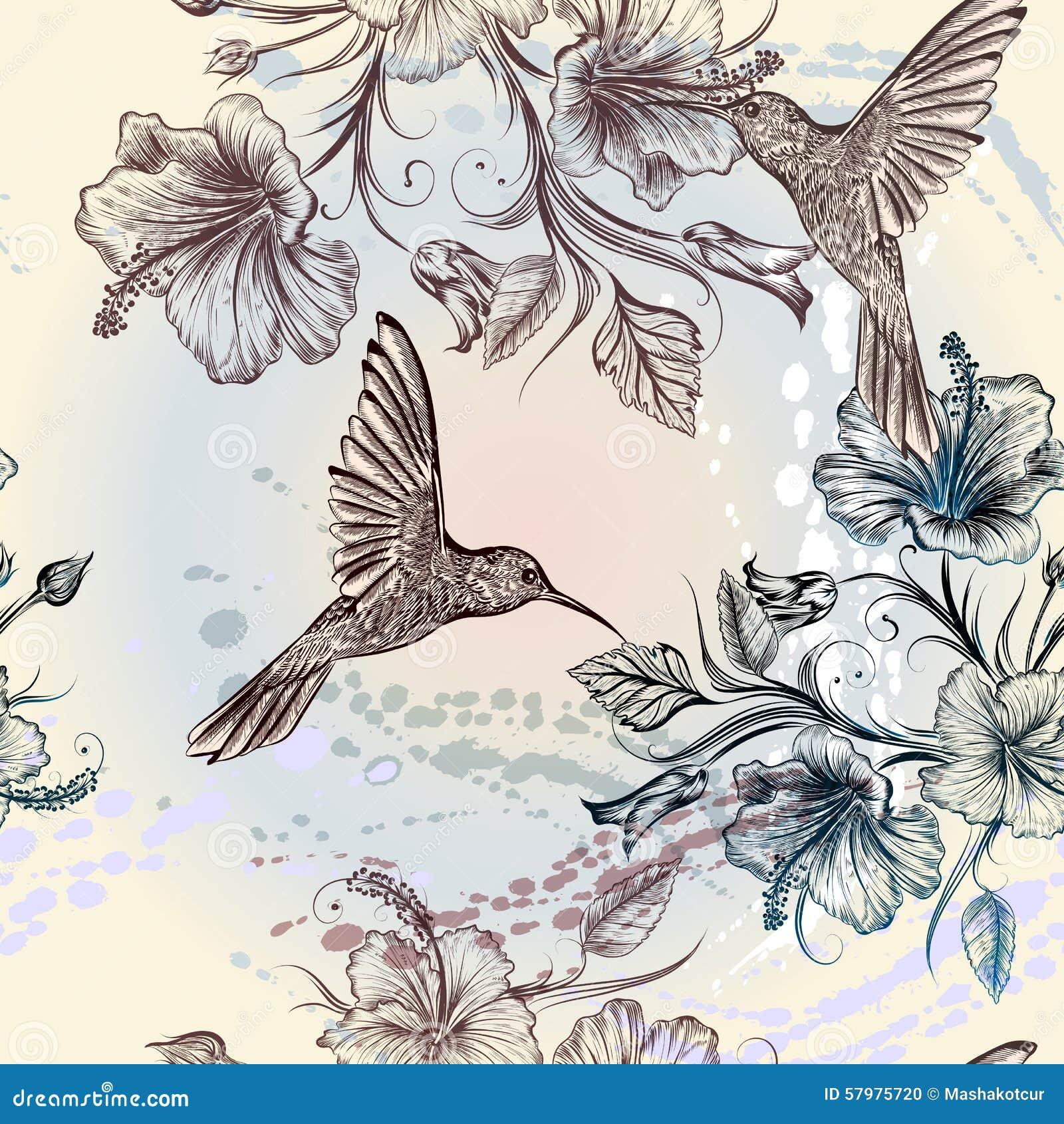 Papier peint fleurs oiseaux - Papier peint oiseaux ...