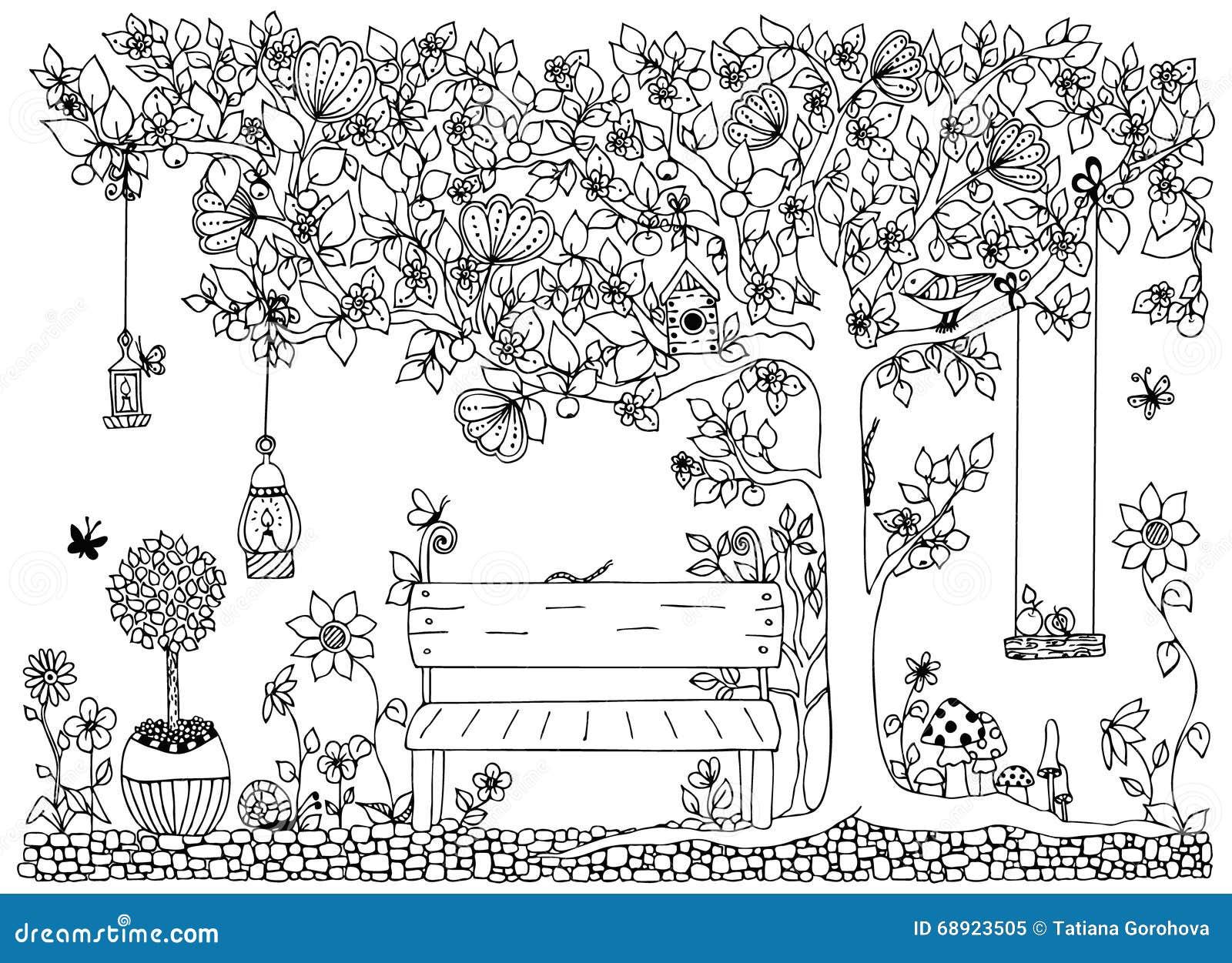 Coloriage Jardin Arbres.Dirigez Le Parc De Zentangle D Illustration Jardin Ressort Banc