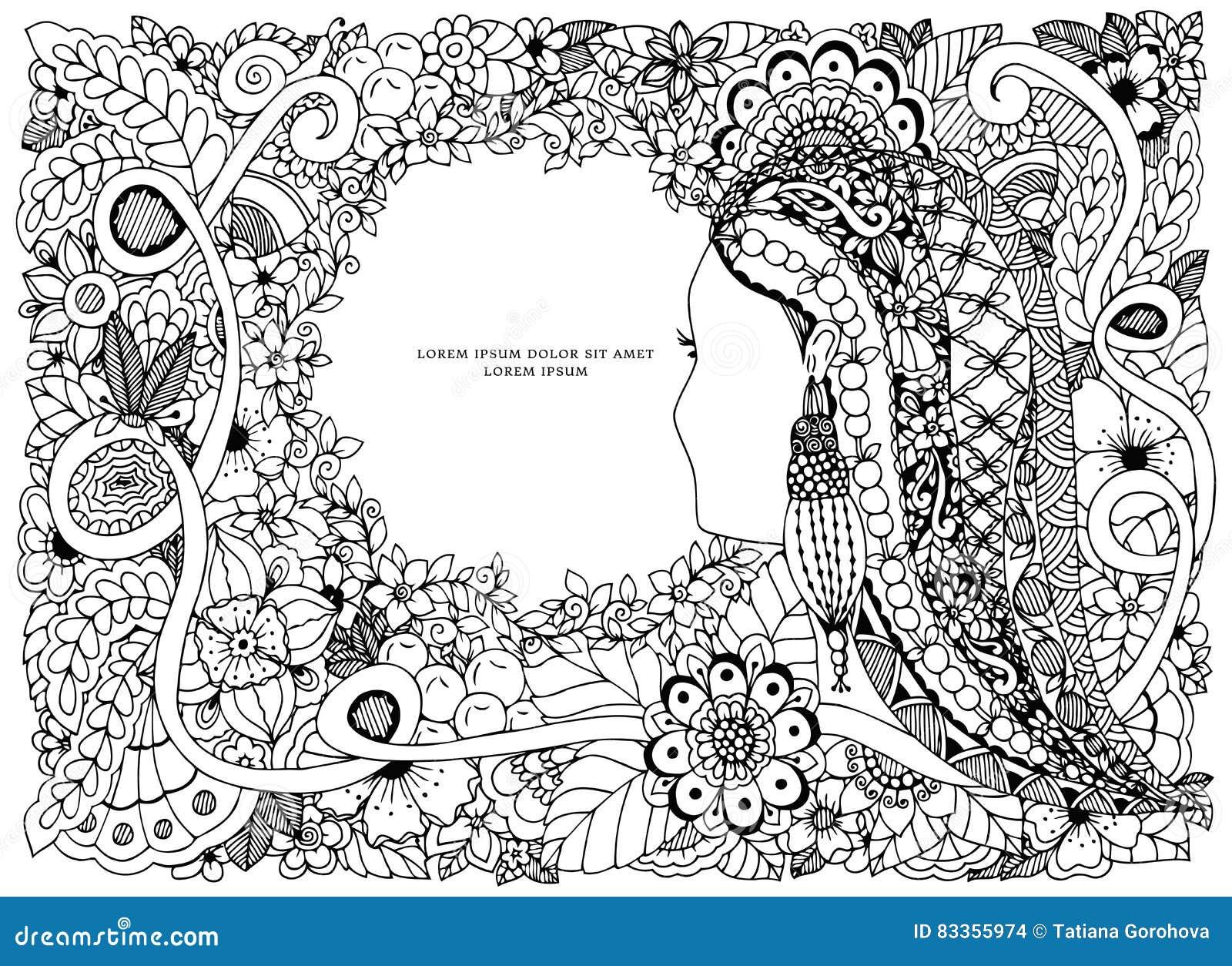 Dirigez Le Portrait De Zen Tangle D Illustration D Une Femme Dans Un