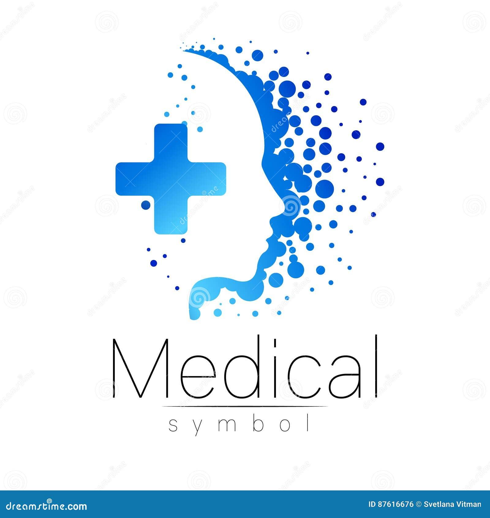 Dirigez Le Signe Mdical Avec La Croix Lintrieur Profil Humain Symbole Pour Des Mdecins Site Web Carte De Visite Icne Couleur Bleue Conception