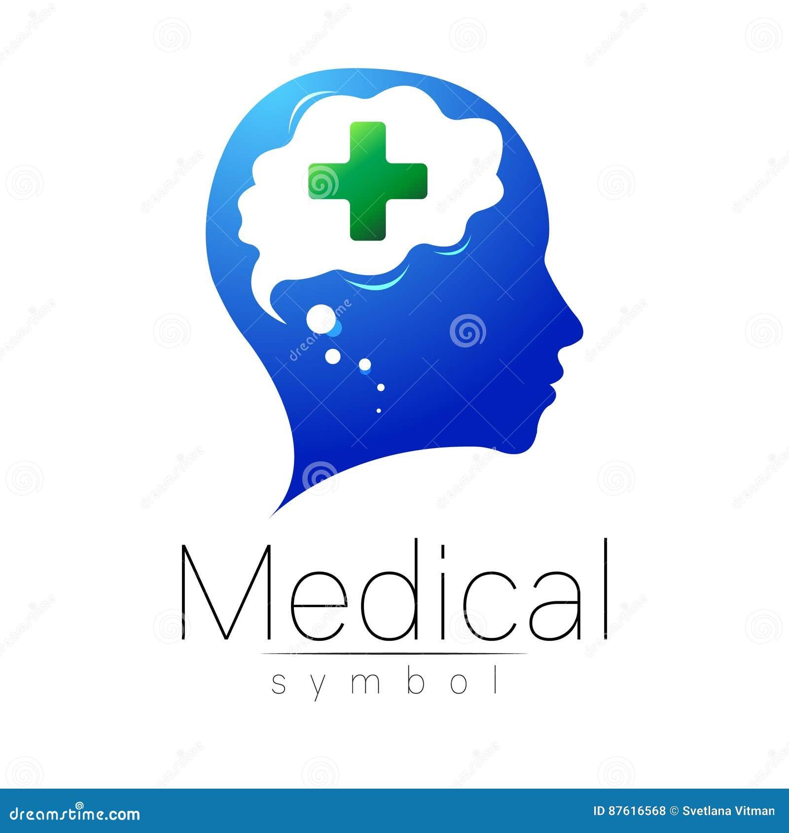 Dirigez Le Signe Mdical Avec La Croix Humain Cerveau Symbole Pour Des Mdecins Site Web Carte De Visite Icne Couleur Verte Bleue Conception