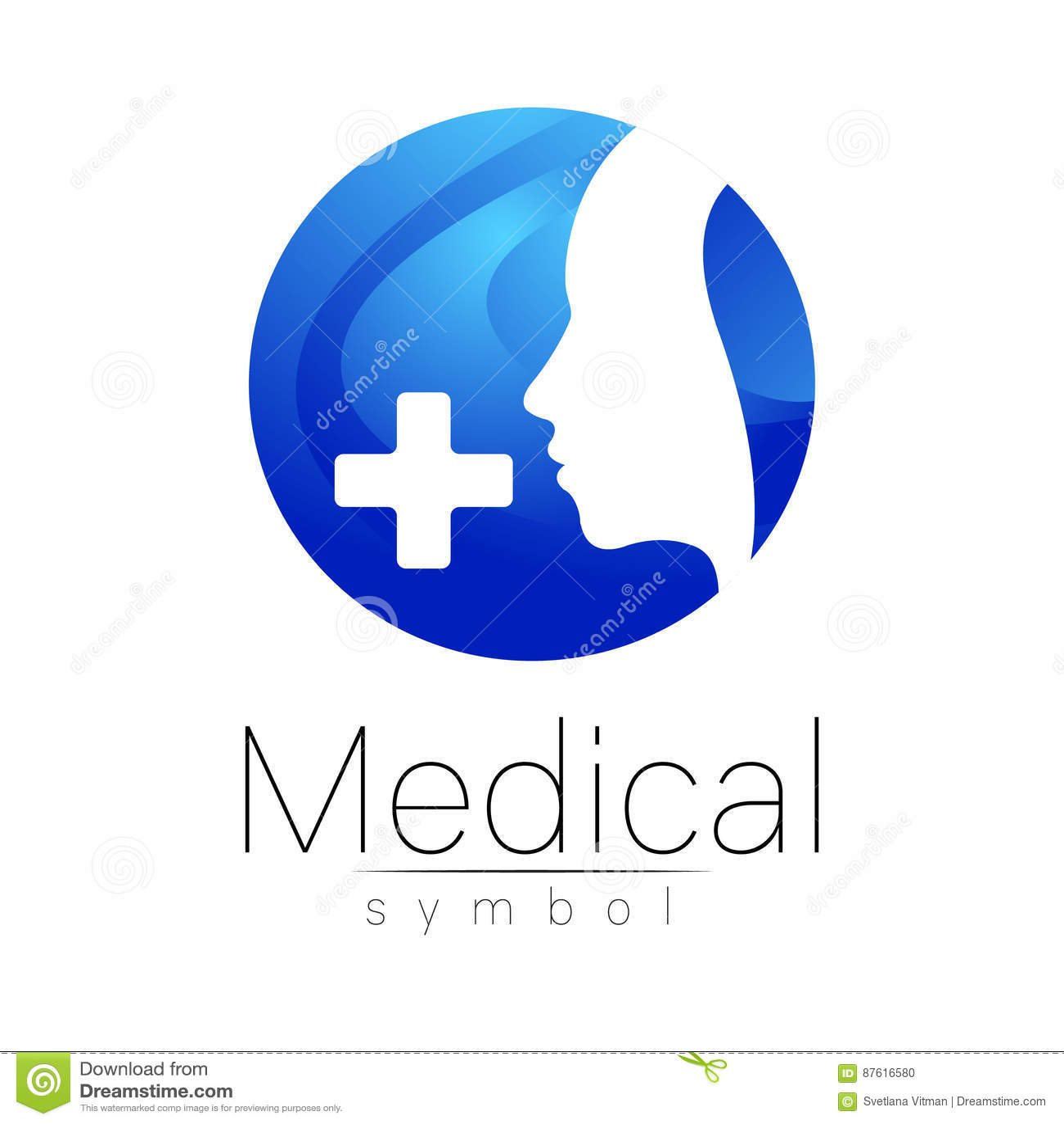Dirigez Le Signe Mdical Avec La Croix Profil Humain Symbole Pour Des Mdecins Site Web Carte De Visite Icne Couleur Bleue Conception Lavant Projet