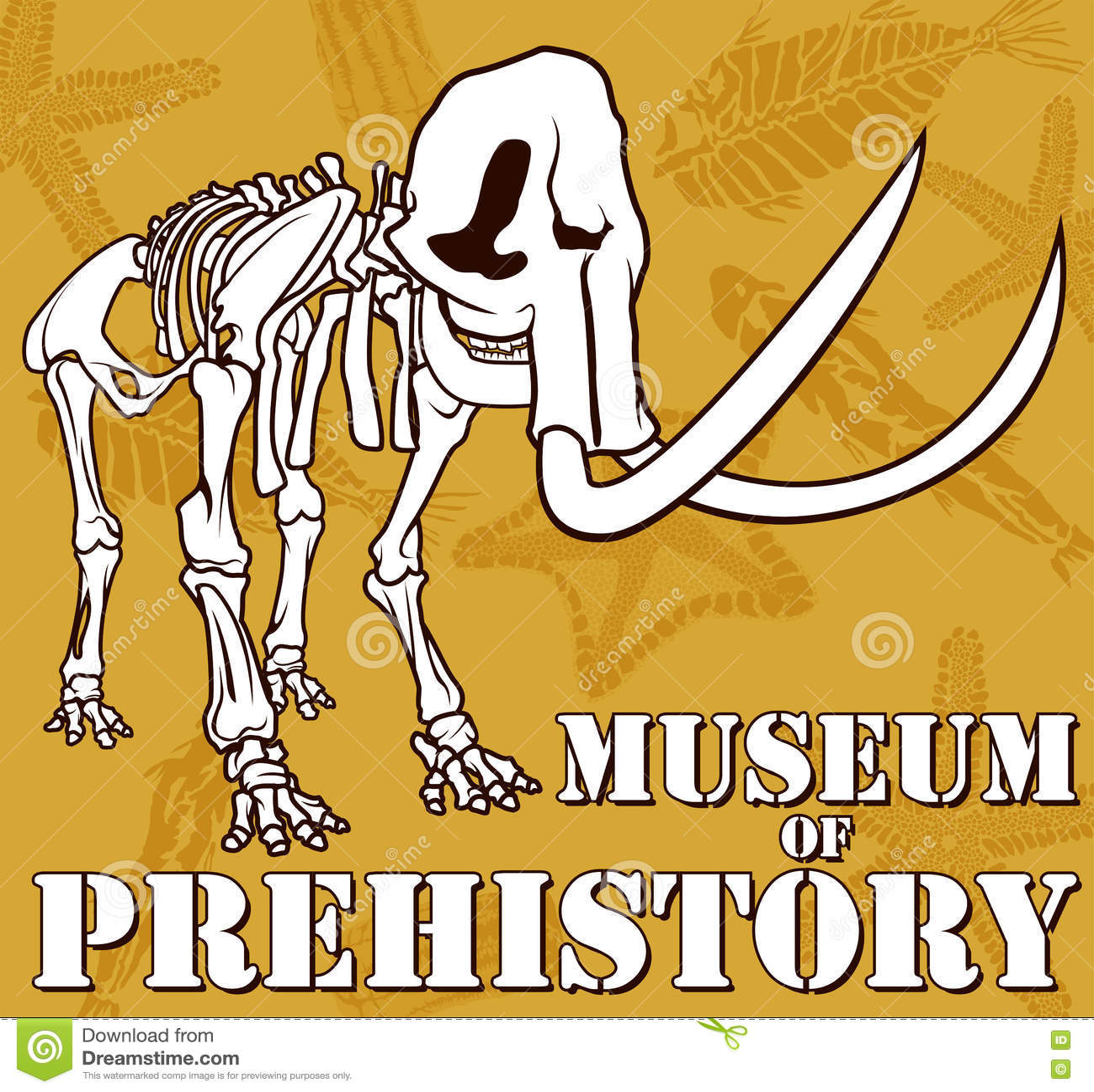 Dirigez le squelette du mammouth sur le musée de fond de paléontologie de la préhistoire