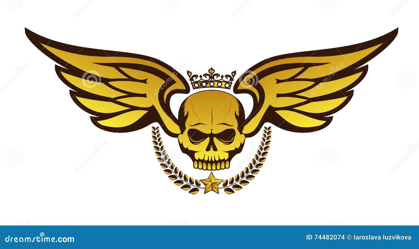 Dirigez Le Tatouage Ou Le Logo D Or Avec Le Crane Couronne Ailes