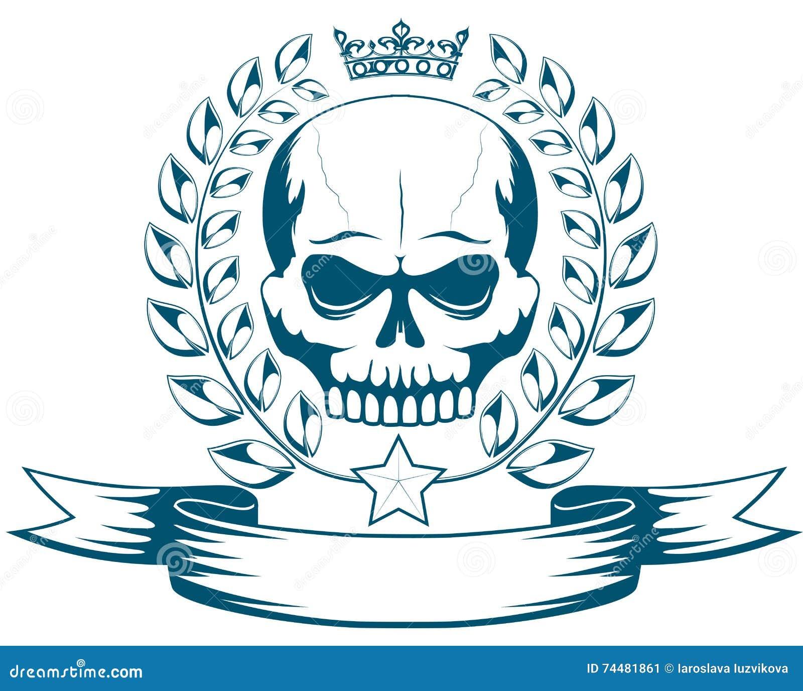 Dirigez Le Tatouage Ou Le Logo Monochrome Avec Le Crane La Couronne