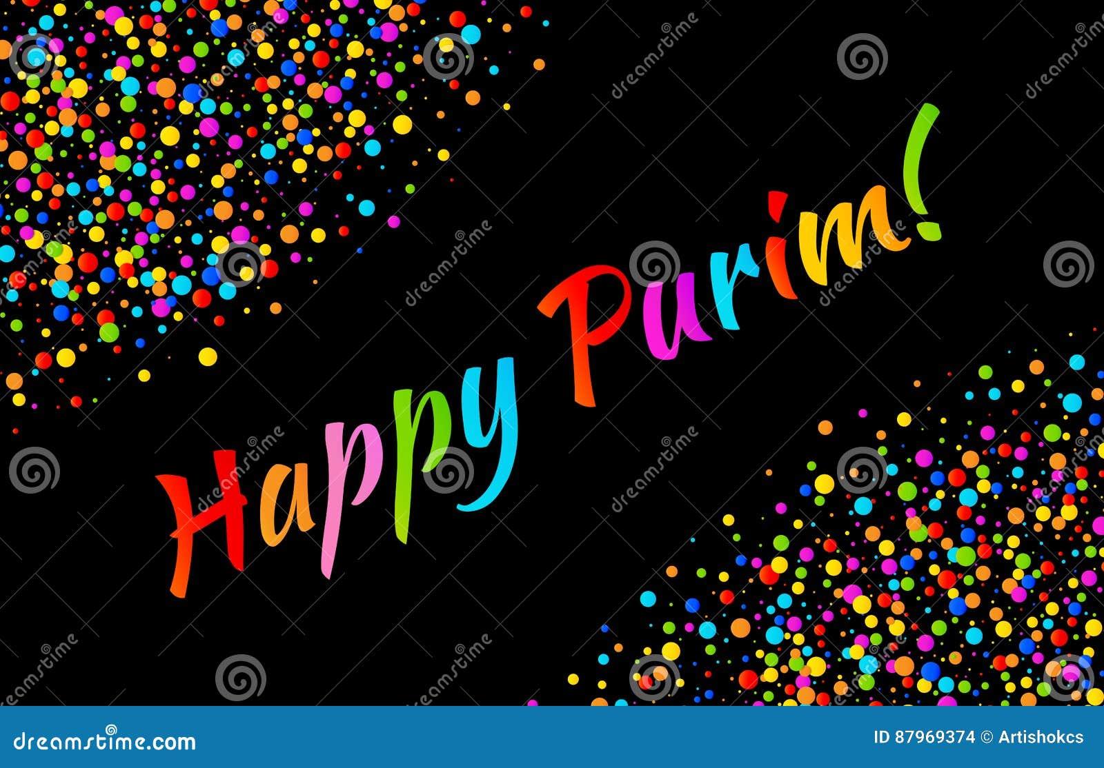 Dirigez le texte heureux de carnaval de Purim de carte lumineuse avec le cadre de papier brillant coloré de confettis d isolement