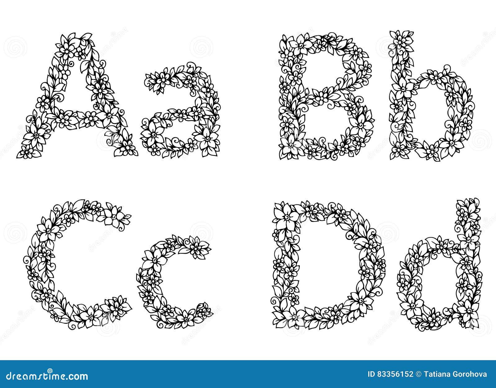 Coloriage Alphabet Fleur.Dirigez Le Zentangl D Illustration Alphabet Des Lettres A B C D De