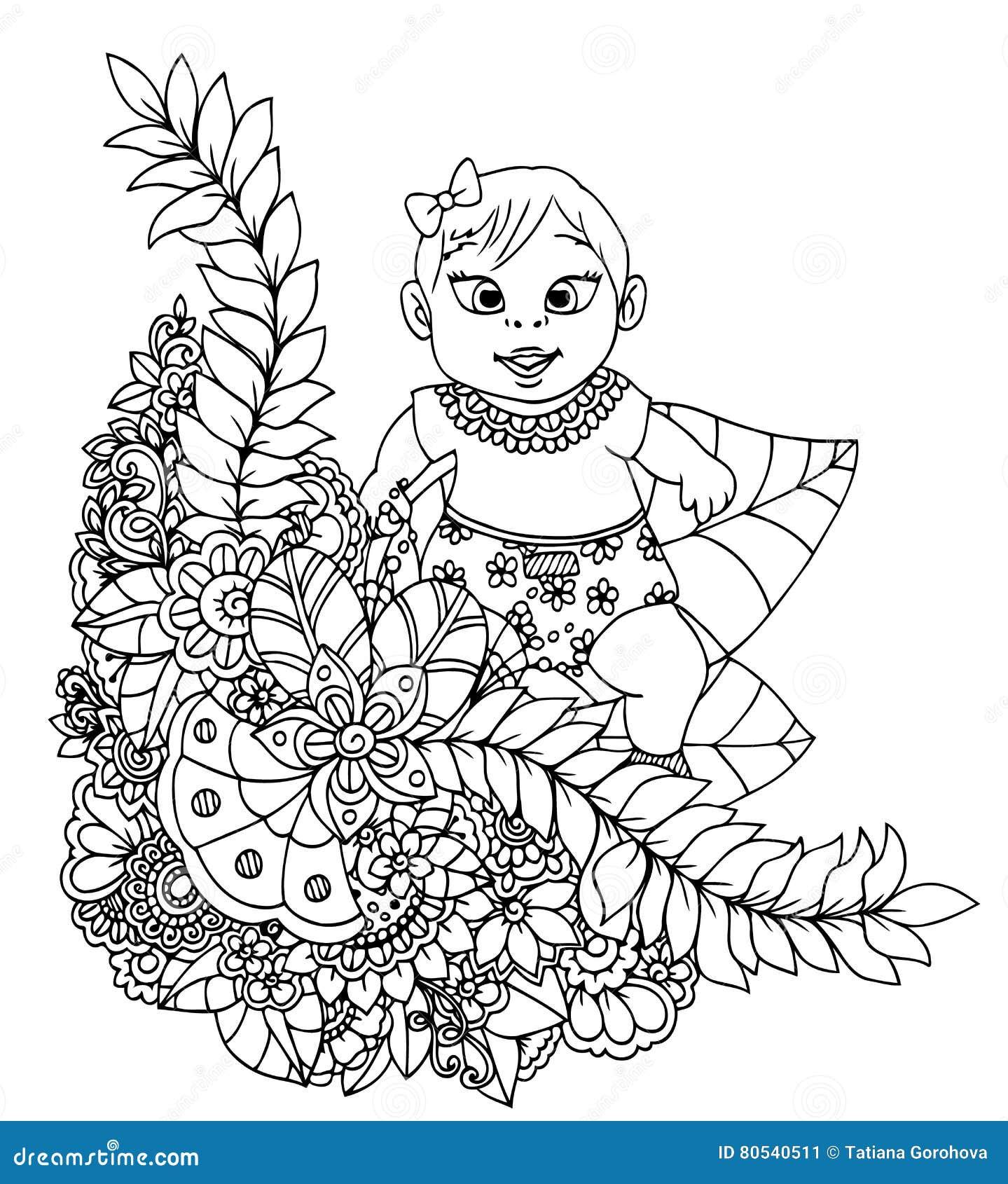 Coloriage Bebe Fleurs.Dirigez Le Zentangl D Illustration Bebe Dans Un Cadre De Fleur