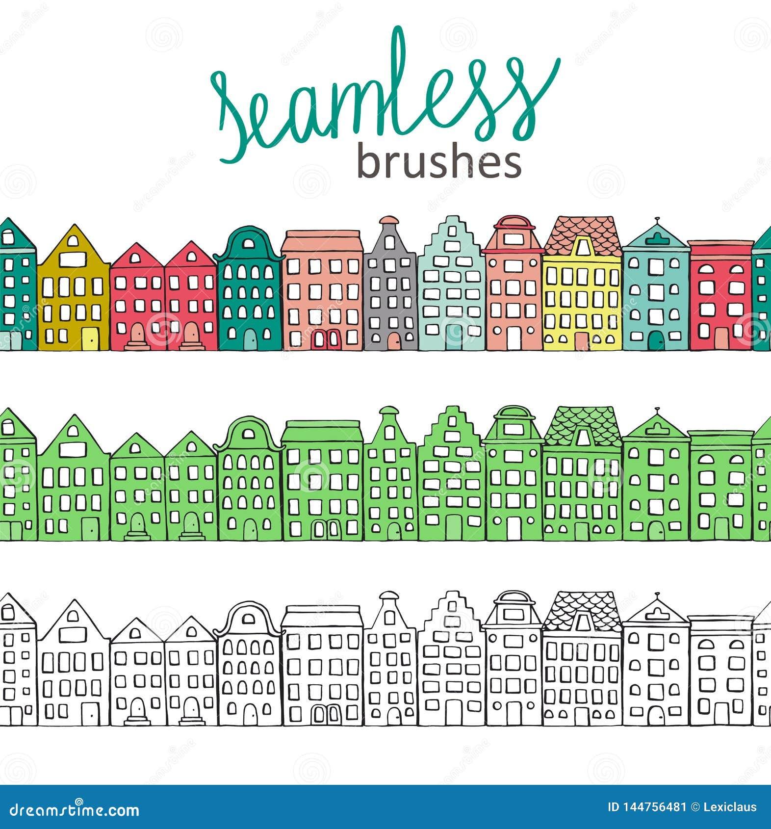 Dirigez les brosses sans couture avec les maisons colorées, vertes et noires et blanches mignonnes