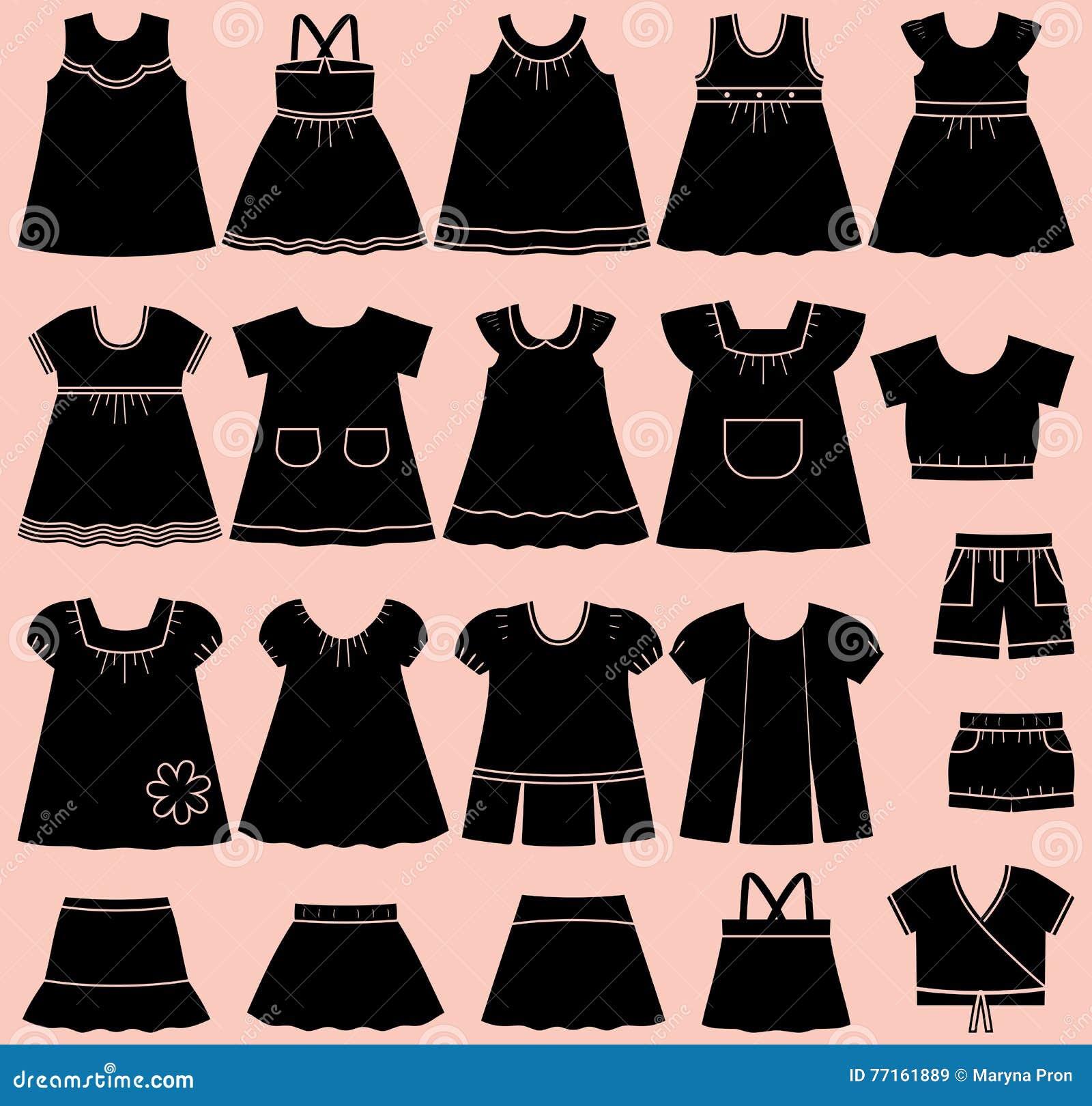 Dirigez les icônes des vêtements d été de bébé pour des filles