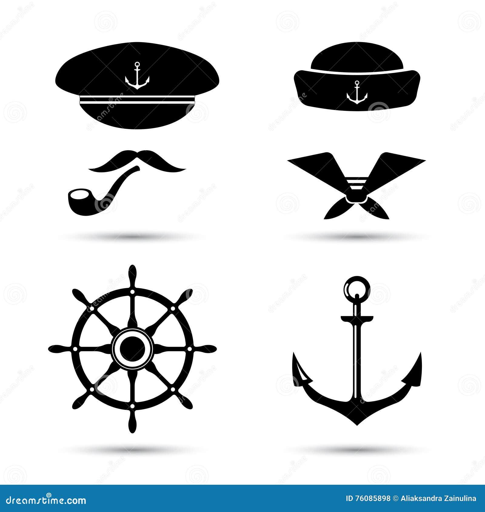 Dirigez les icônes, le capitaine et le marin nautiques, ensemble de mer