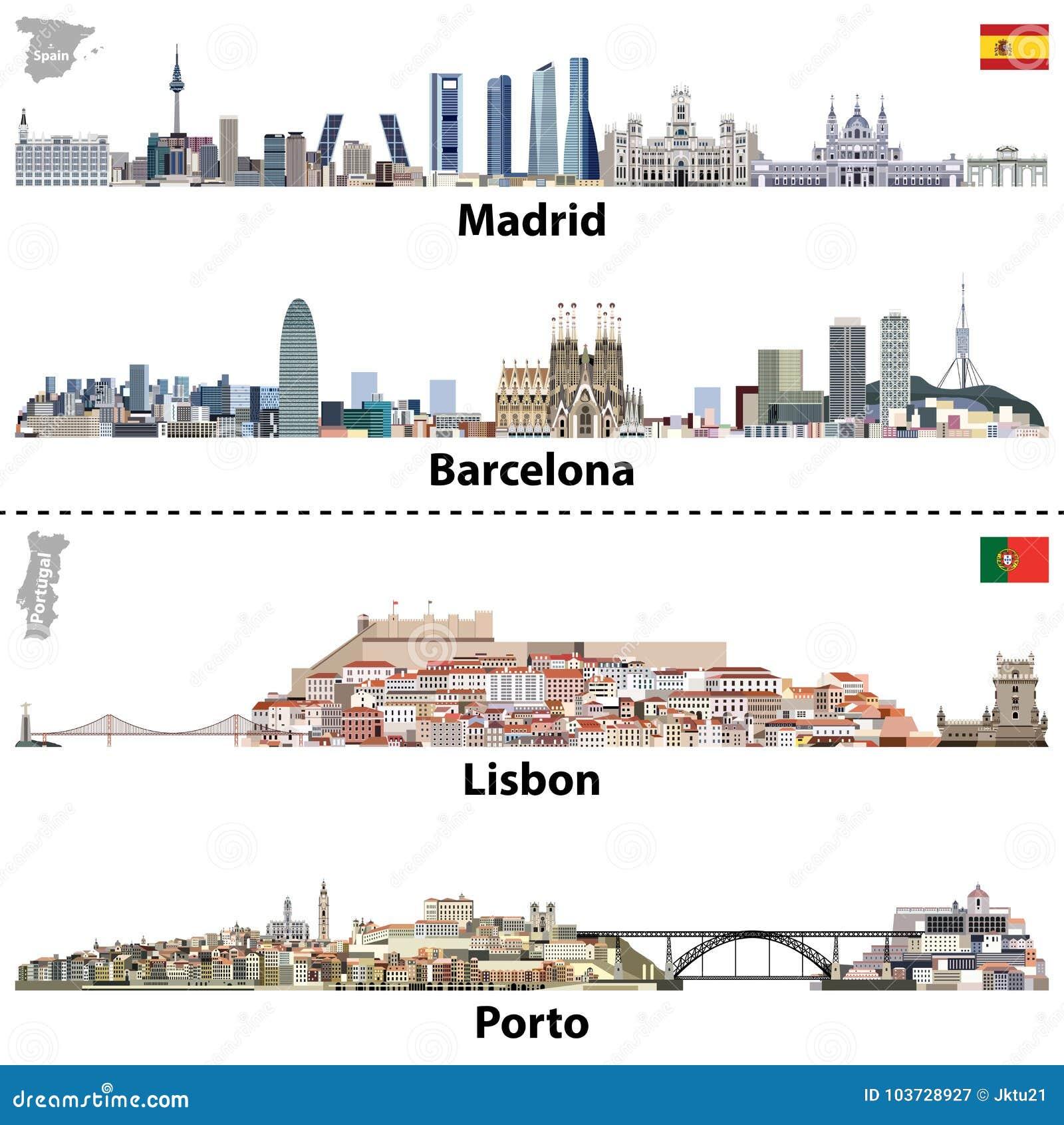 Carte De Lespagne Barcelone.Dirigez Les Illustrations Des Horizons De Madrid De Barcelone De