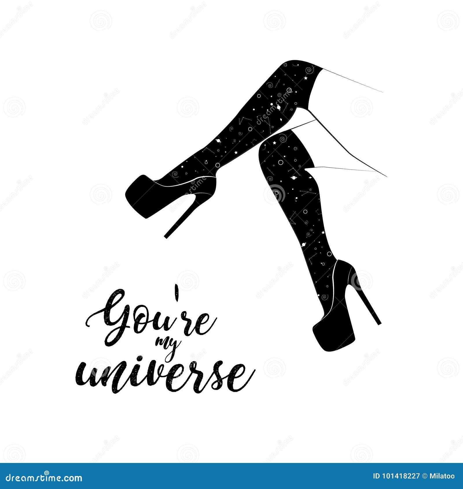 Dirigez les jambes de femme dans des talons hauts avec les chaussures stylets Vous êtes mon affiche d univers Art noir moderne de
