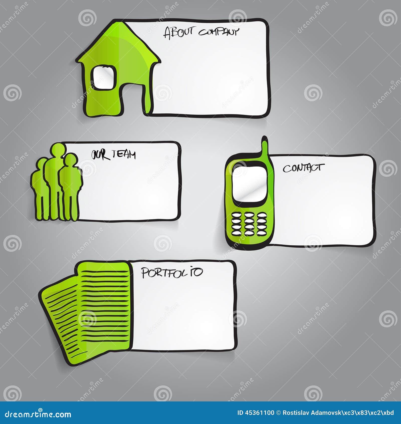 Dirigez les labels infographic verts abstraits avec des icônes