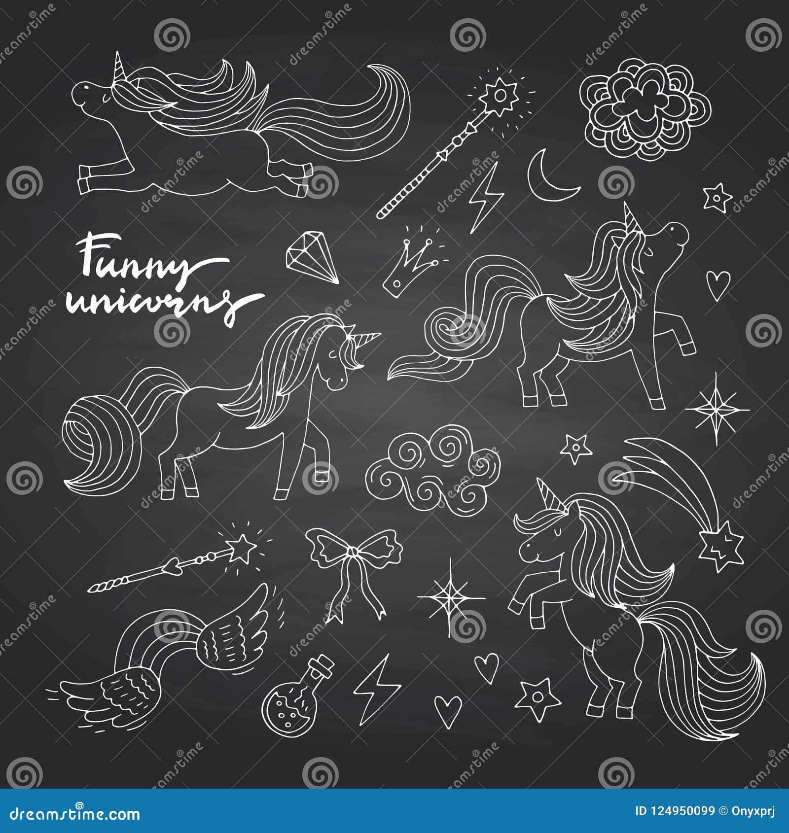 Dirigez les licornes mignonnes et les étoiles magiques tirées par la main réglées sur le tableau noir