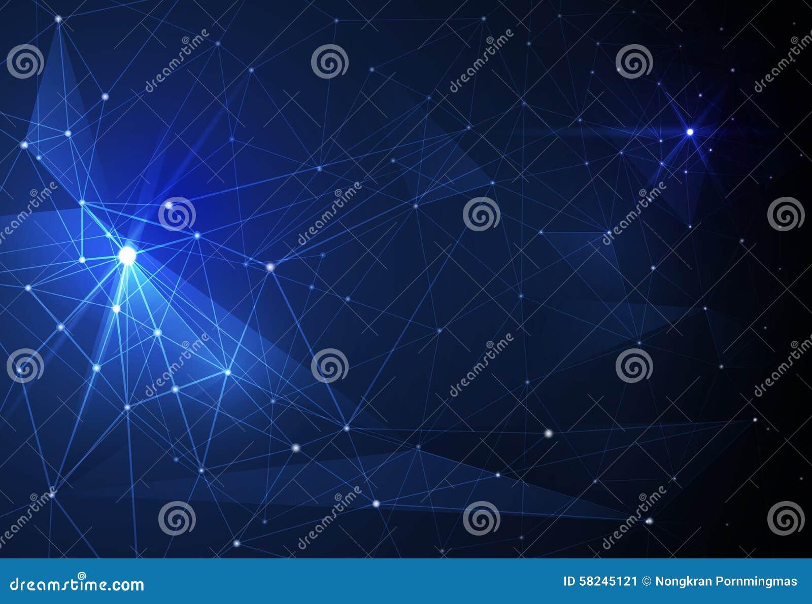 Dirigez les molécules abstraites et la technologie des communications sur le fond bleu Concept futuriste de technologie numérique