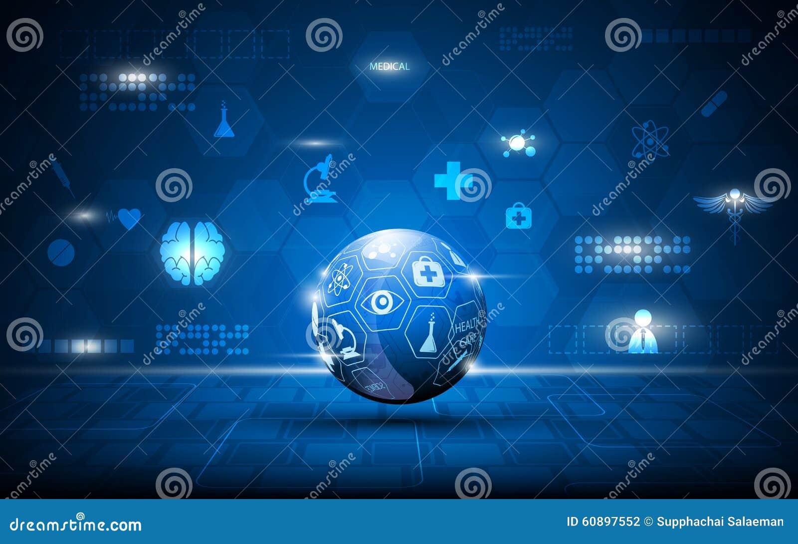 Dirigez les soins de santé abstraits de globe et le fond médical de concept