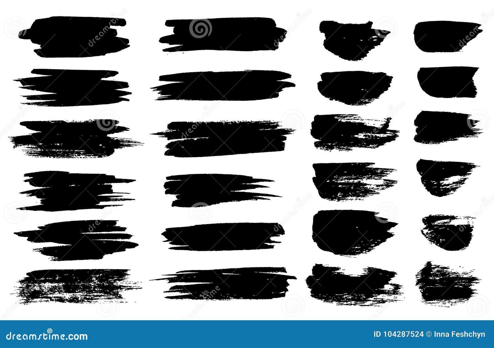 Dirigez les taches noires de pinceau, les lignes de barre de mise en valeur ou les gouttes horizontales de marqueur feutre de sty