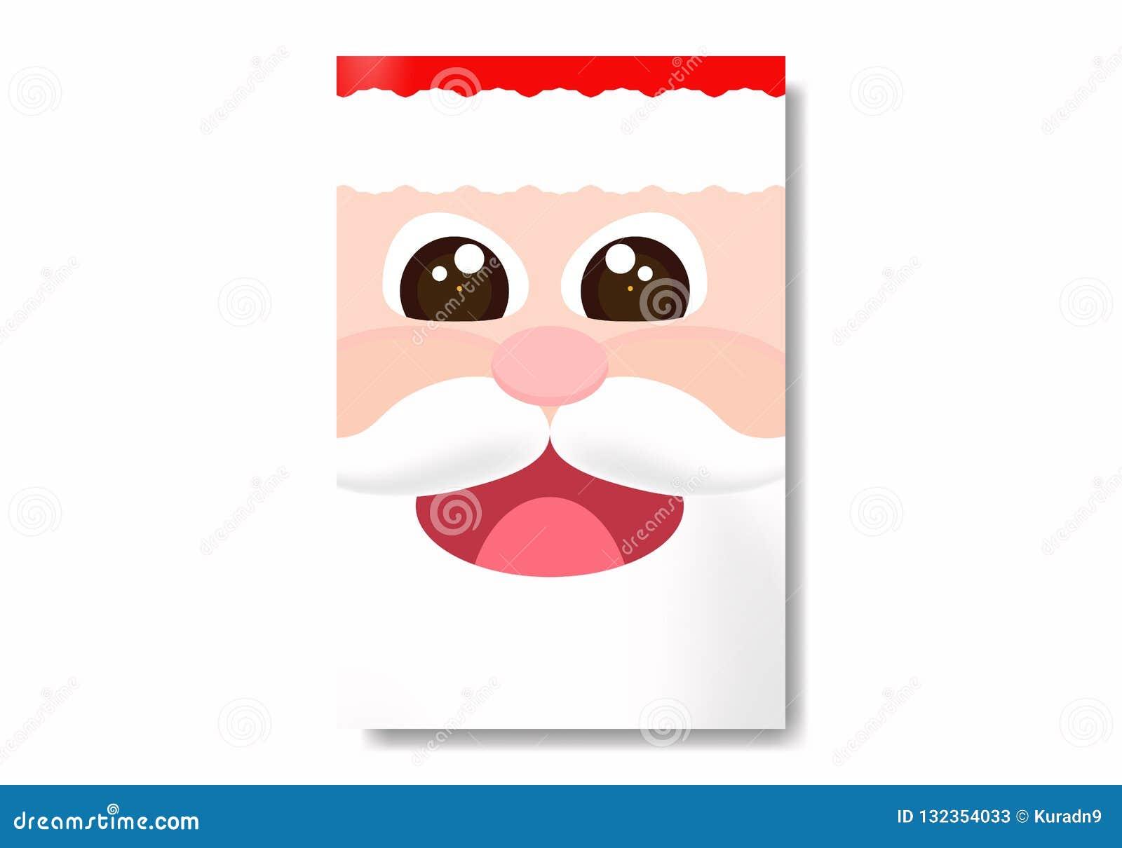 Dirigez les yeux grands ouverts rougeoyants de caractère mignon de Santa Claus dans la conception plate
