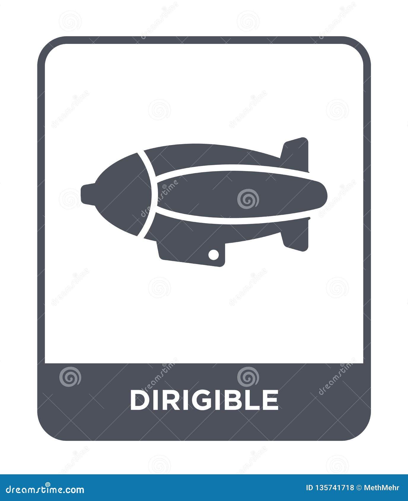Dirigible symbol i moderiktig designstil dirigible symbol som isoleras på vit bakgrund enkel och modern lägenhet för dirigible ve