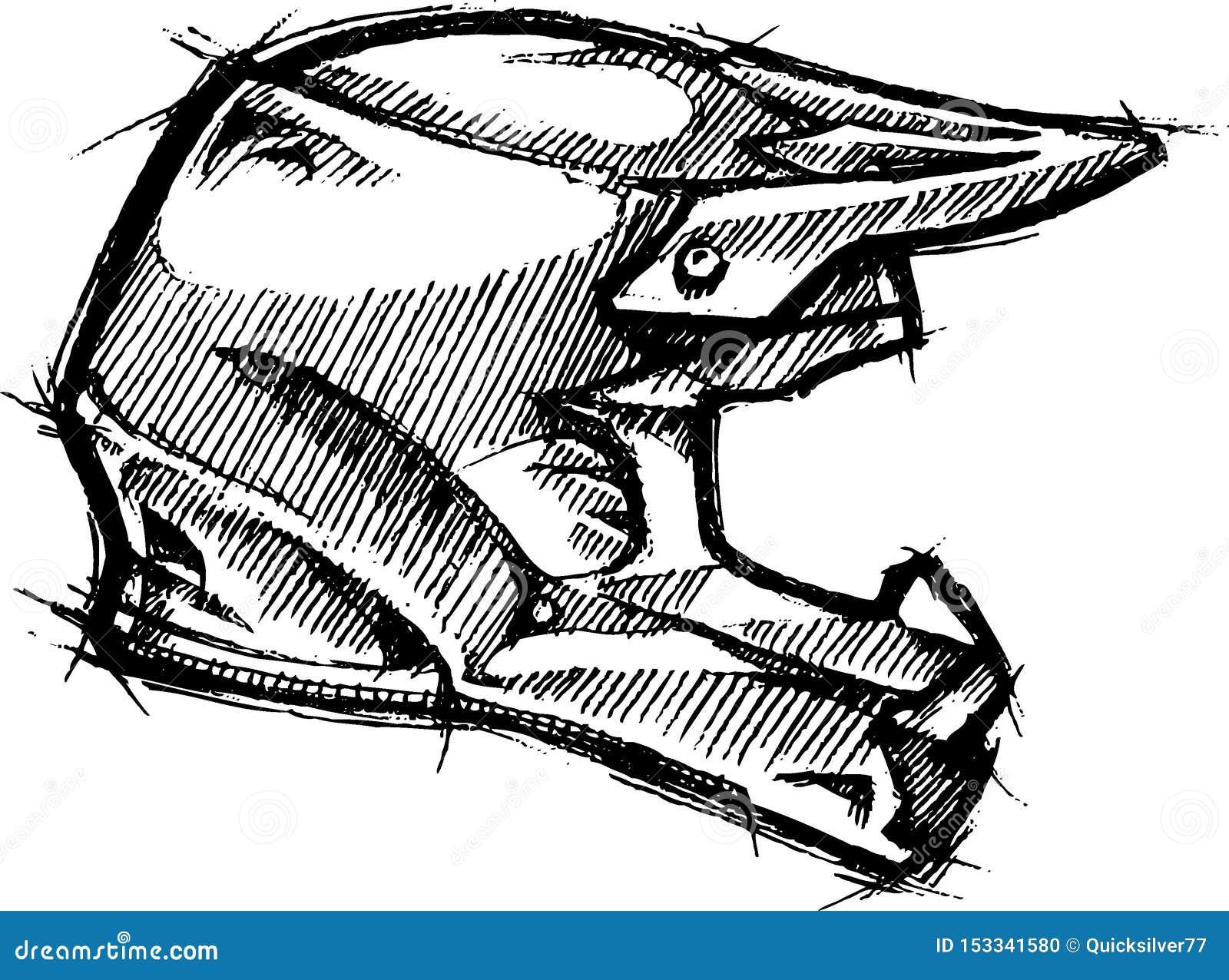 Dirt Bike Helmet Sketch Stock Vector Illustration Of Sporty 153341580