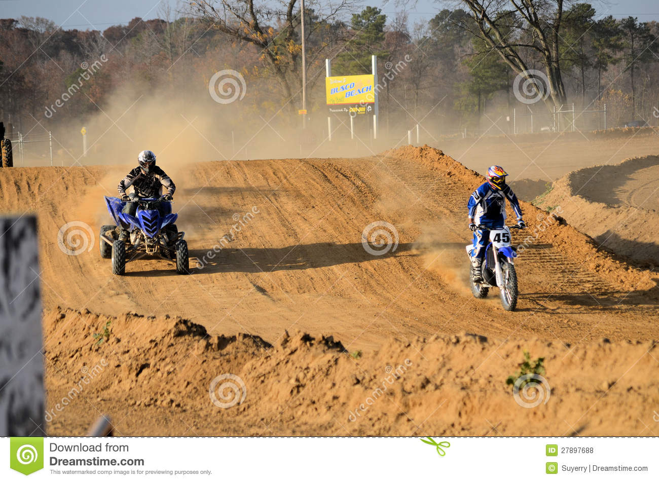 Dirt Bike And Quad Atv Out For A Ride Editorial Stock Photo
