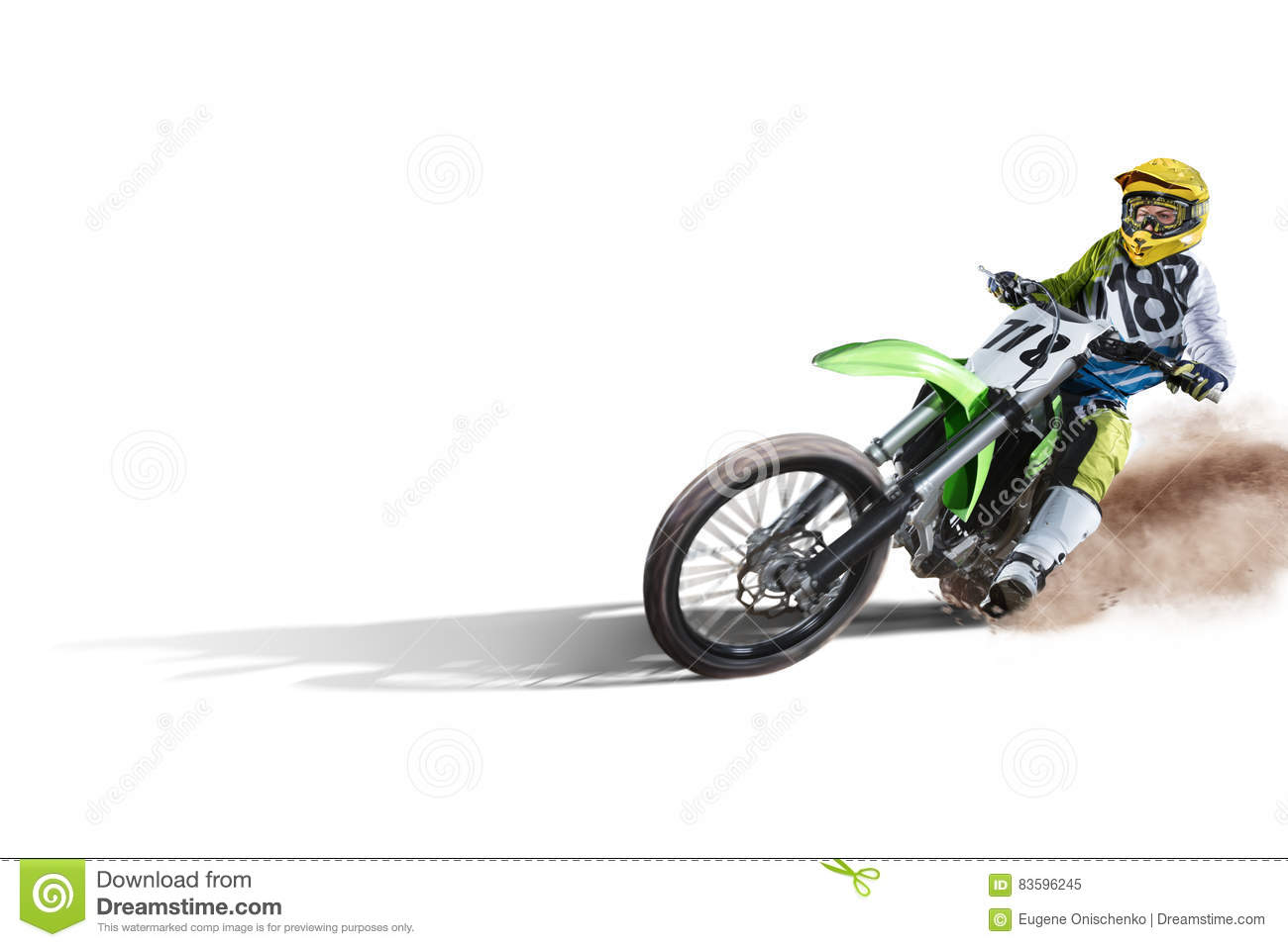 Download Dirt Bike And Rider Isolated On White Stock Image - Image of bike, motorsport: 83596245