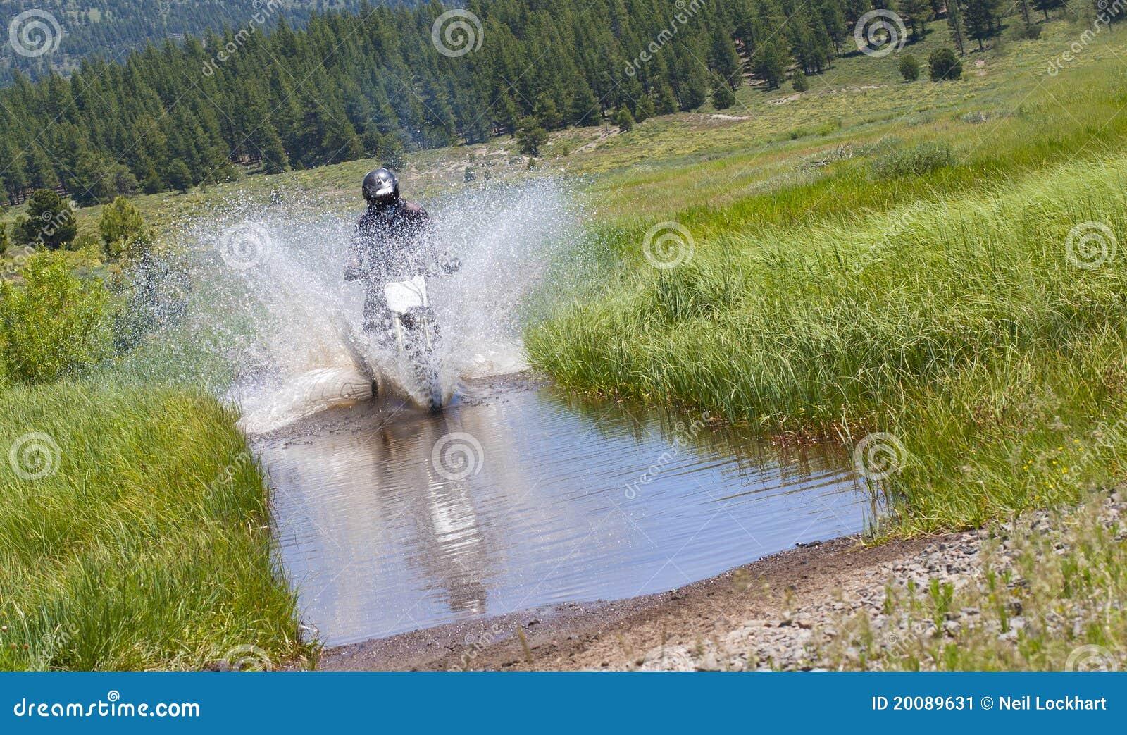 Dirt Bike Water Crossing Stock Image Image 20089631