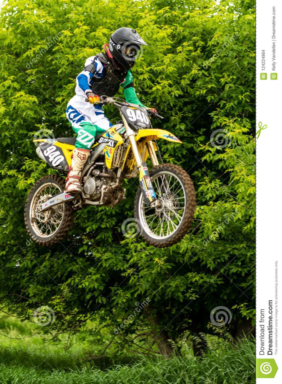 Dirtbiker Stands During Jump Editorial Stock Image Image Of Trick Dirtbike 124224864